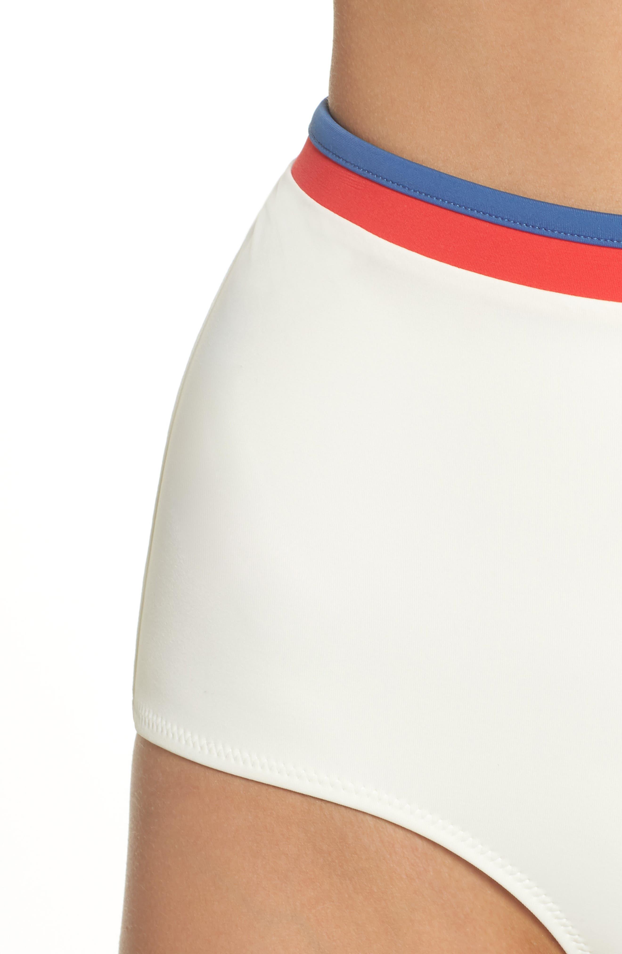 Solid & Stripe Katie High Waist Bikini Bottoms,                             Alternate thumbnail 4, color,                             900