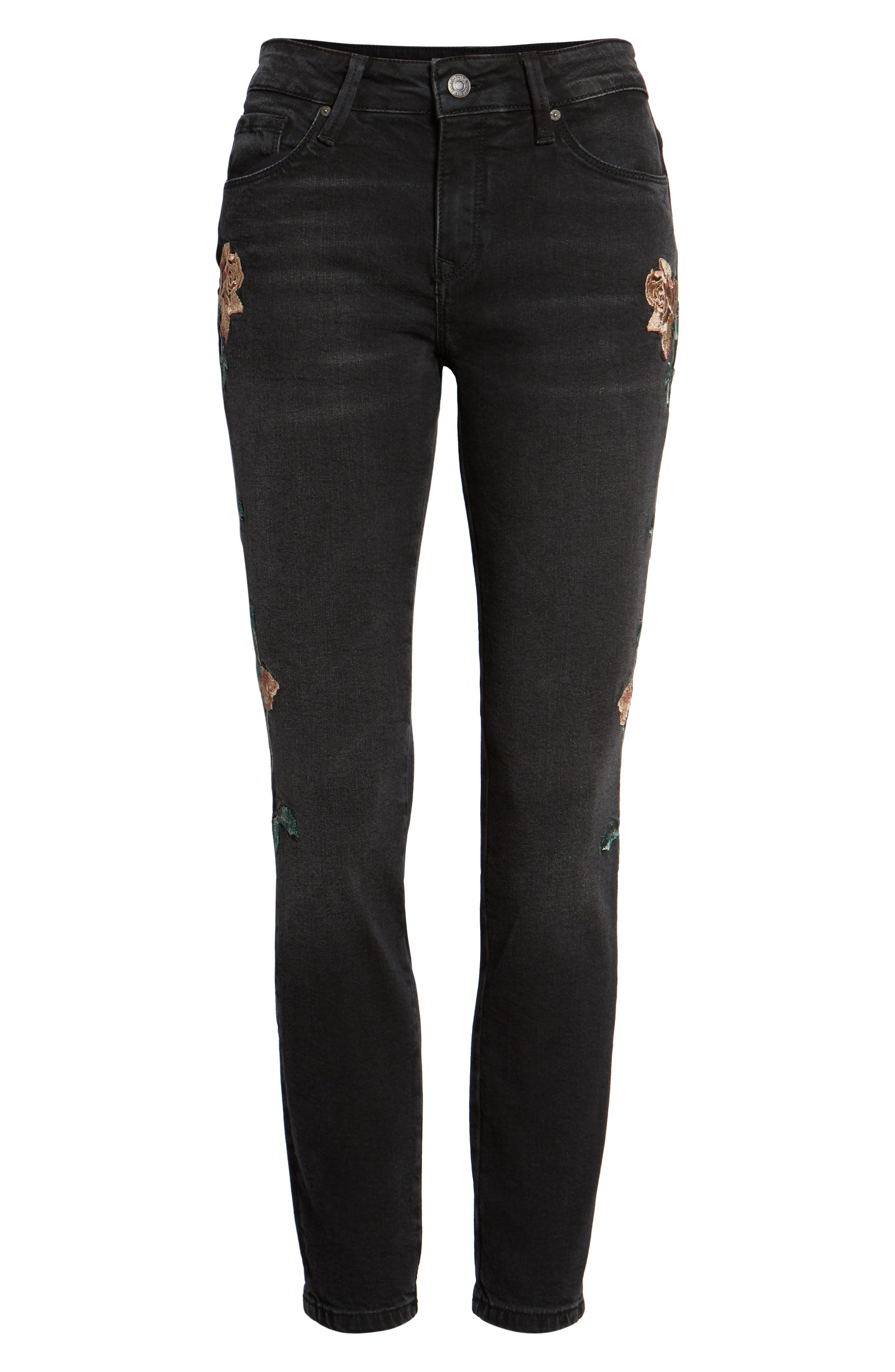 Adriana Embroidered Skinny Jeans,                             Alternate thumbnail 7, color,                             002