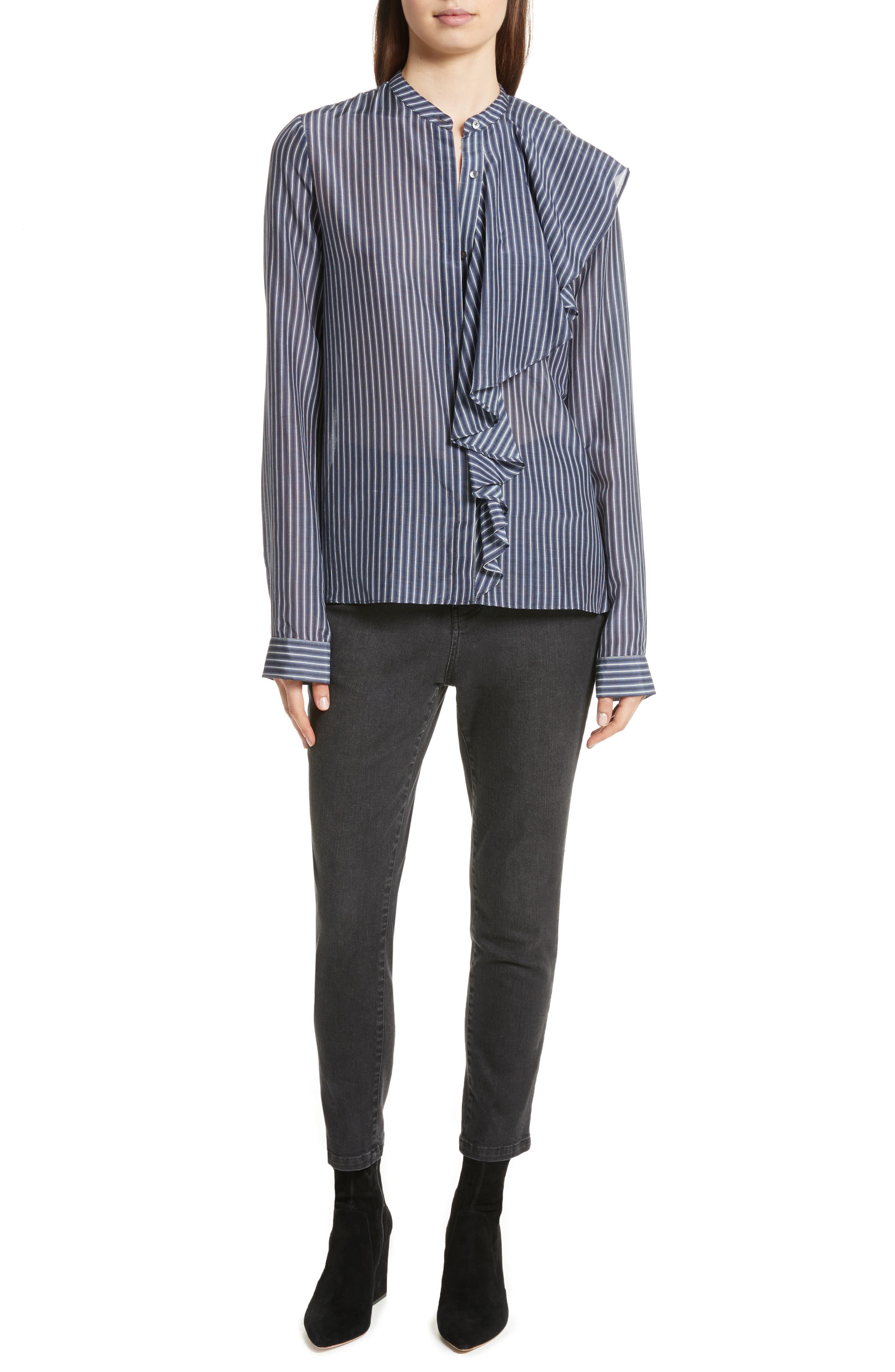 Vertical Stripe Ruffle Shirt,                             Alternate thumbnail 7, color,                             400