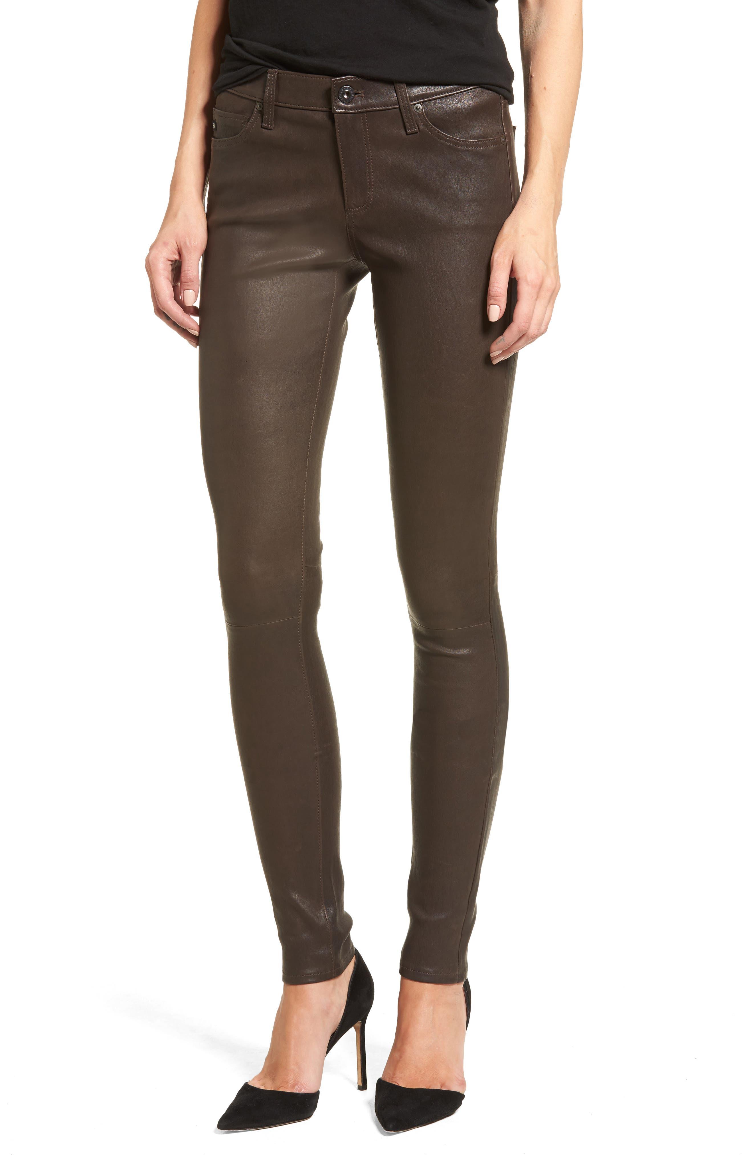 AG,                             The Legging Super Skinny Leather Pants,                             Main thumbnail 1, color,                             248