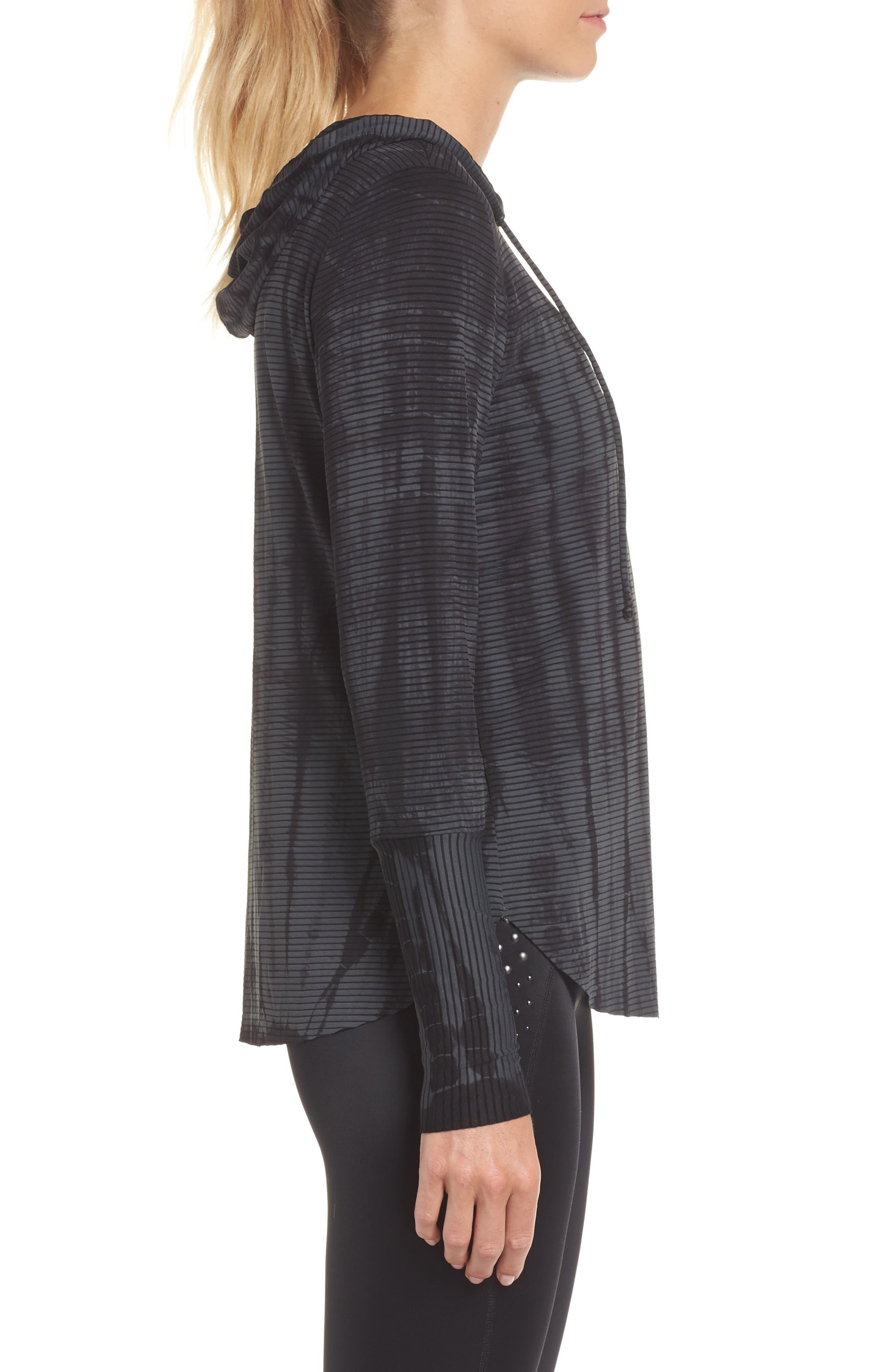 Waves Tie Dye Gray Hooded Pullover,                             Alternate thumbnail 3, color,                             DARK GREY