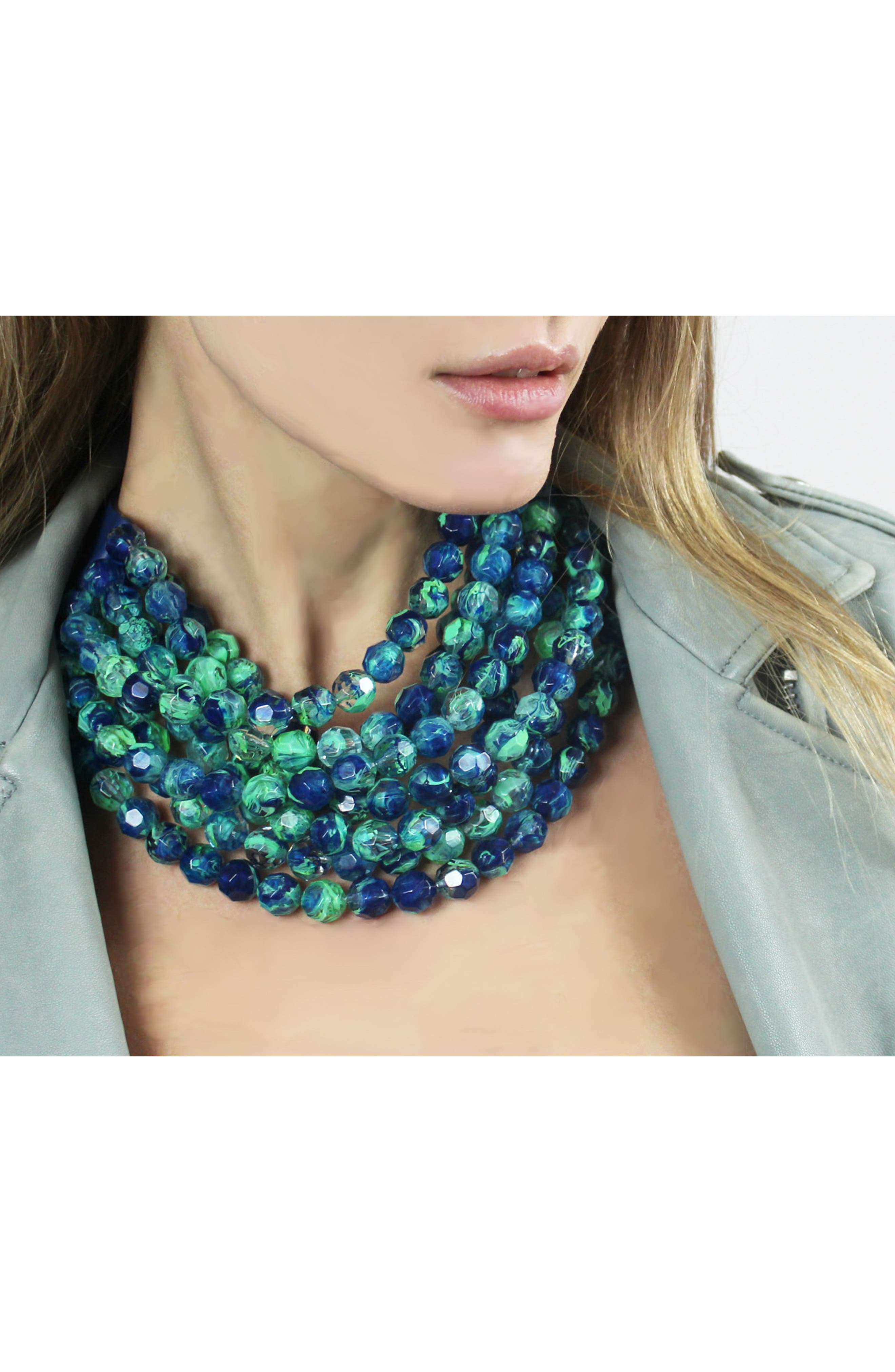 Bella Beaded Collar Necklace,                             Alternate thumbnail 3, color,                             TRANSPARENT MARBLE SEA GREEN