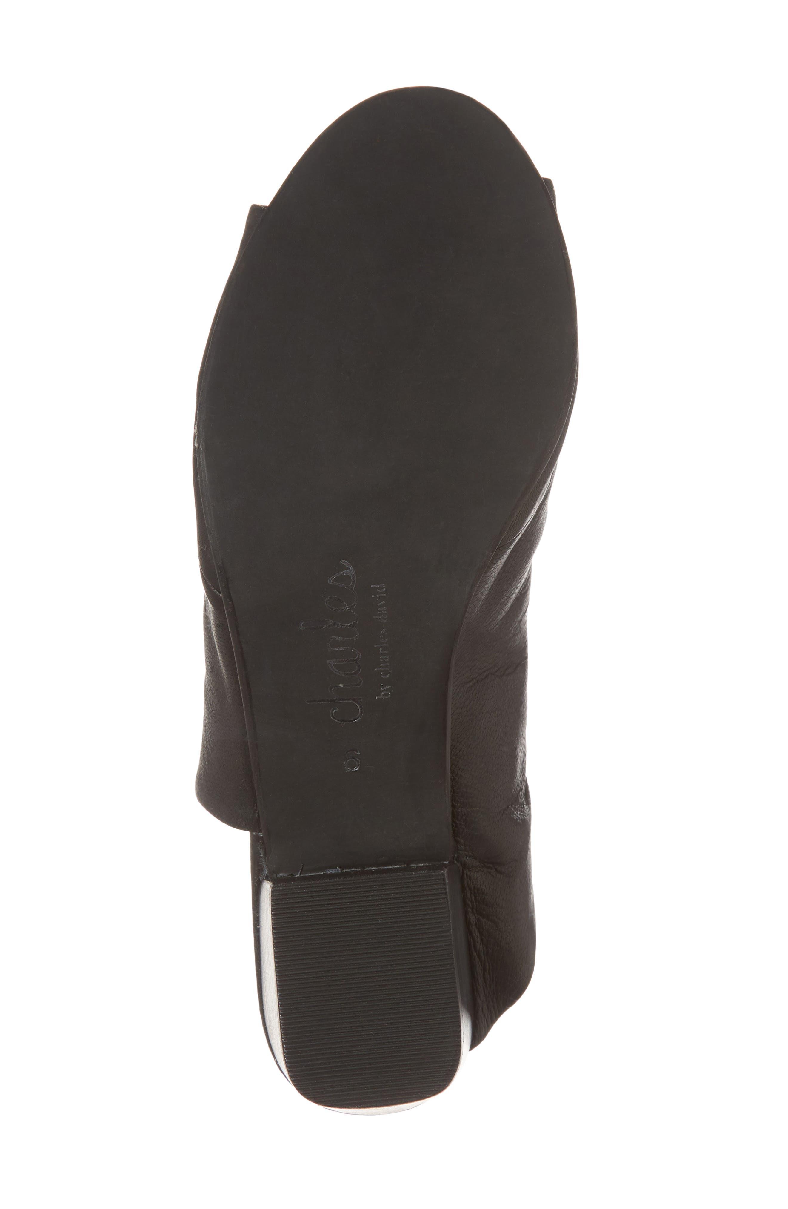 Yanna Block Heel Slide Sandal,                             Alternate thumbnail 6, color,                             BLACK LEATHER