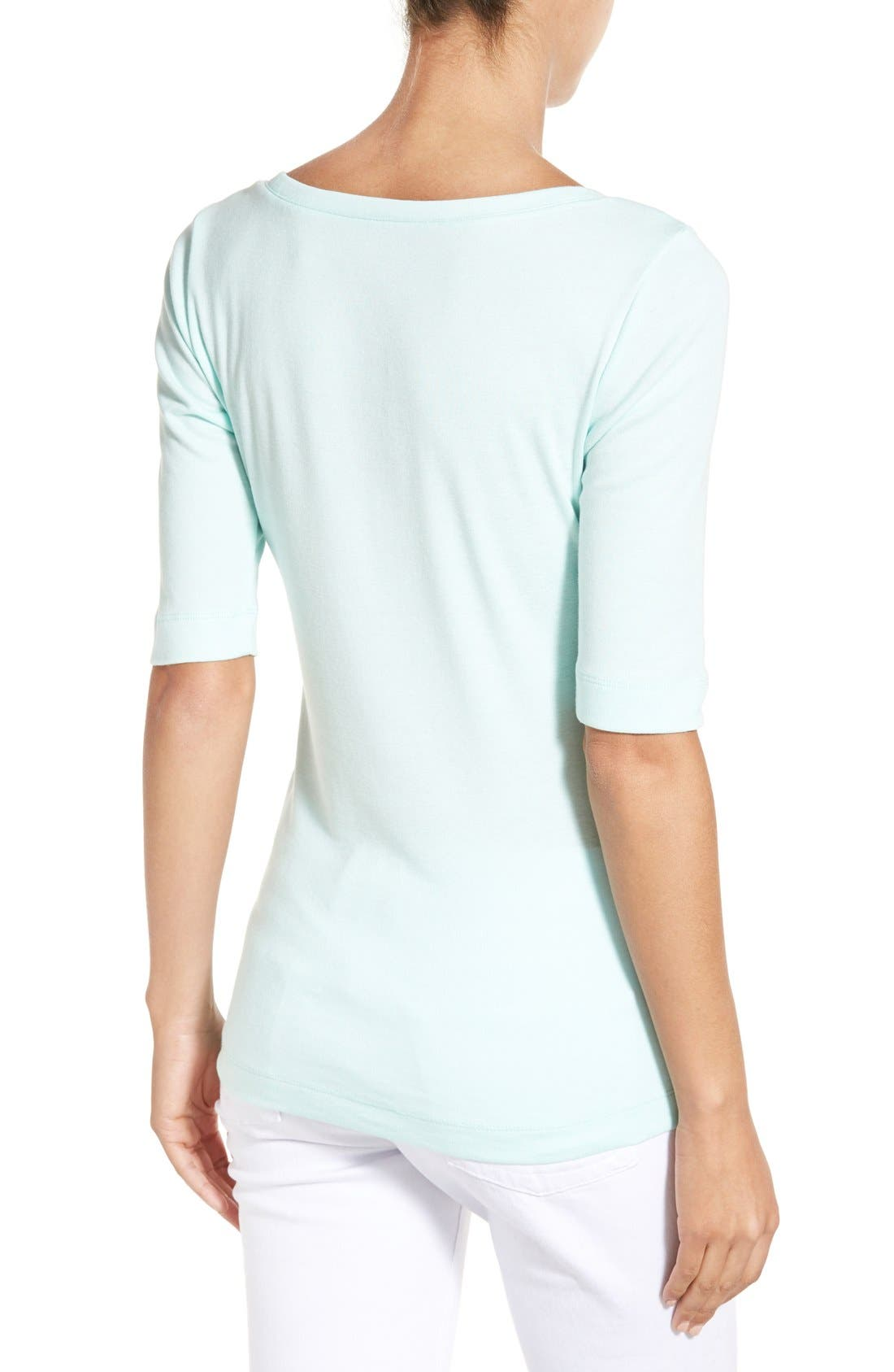 Ballet Neck Cotton & Modal Knit Elbow Sleeve Tee,                             Alternate thumbnail 191, color,