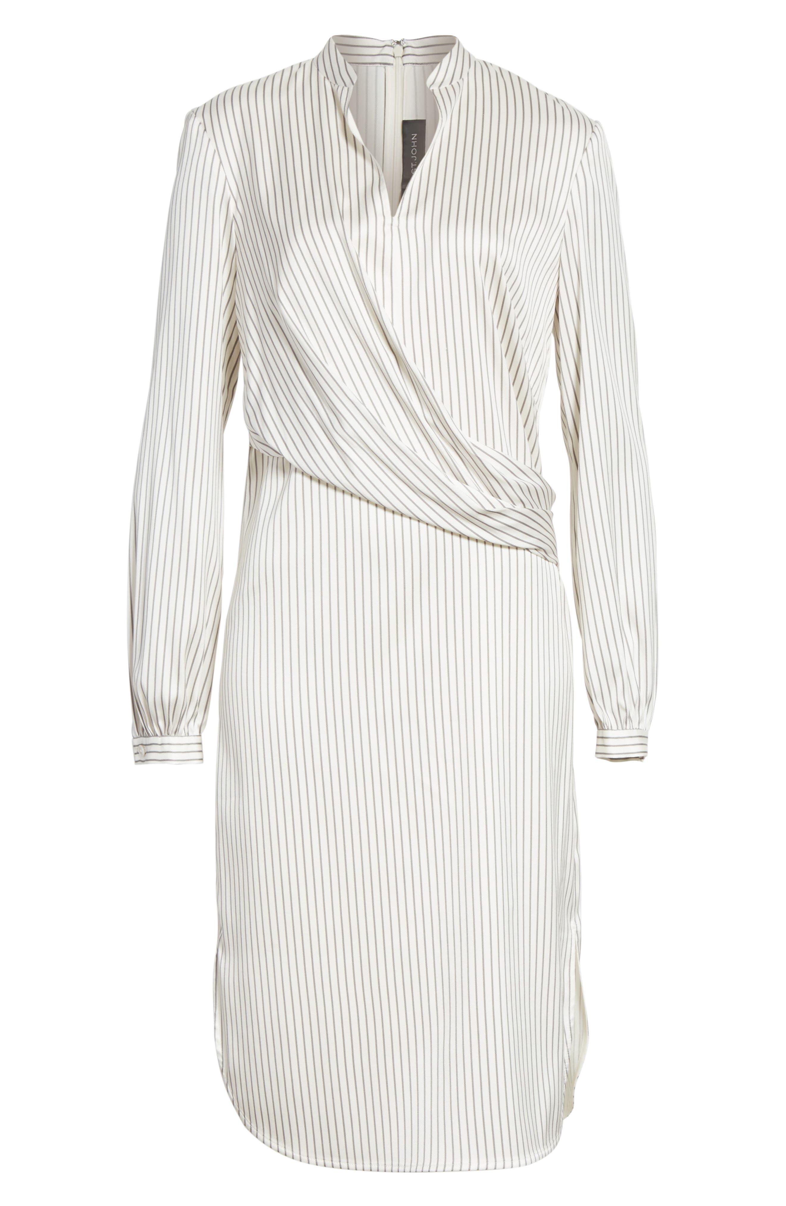 Vertical Stripe Stretch Silk Dress,                             Alternate thumbnail 6, color,                             270