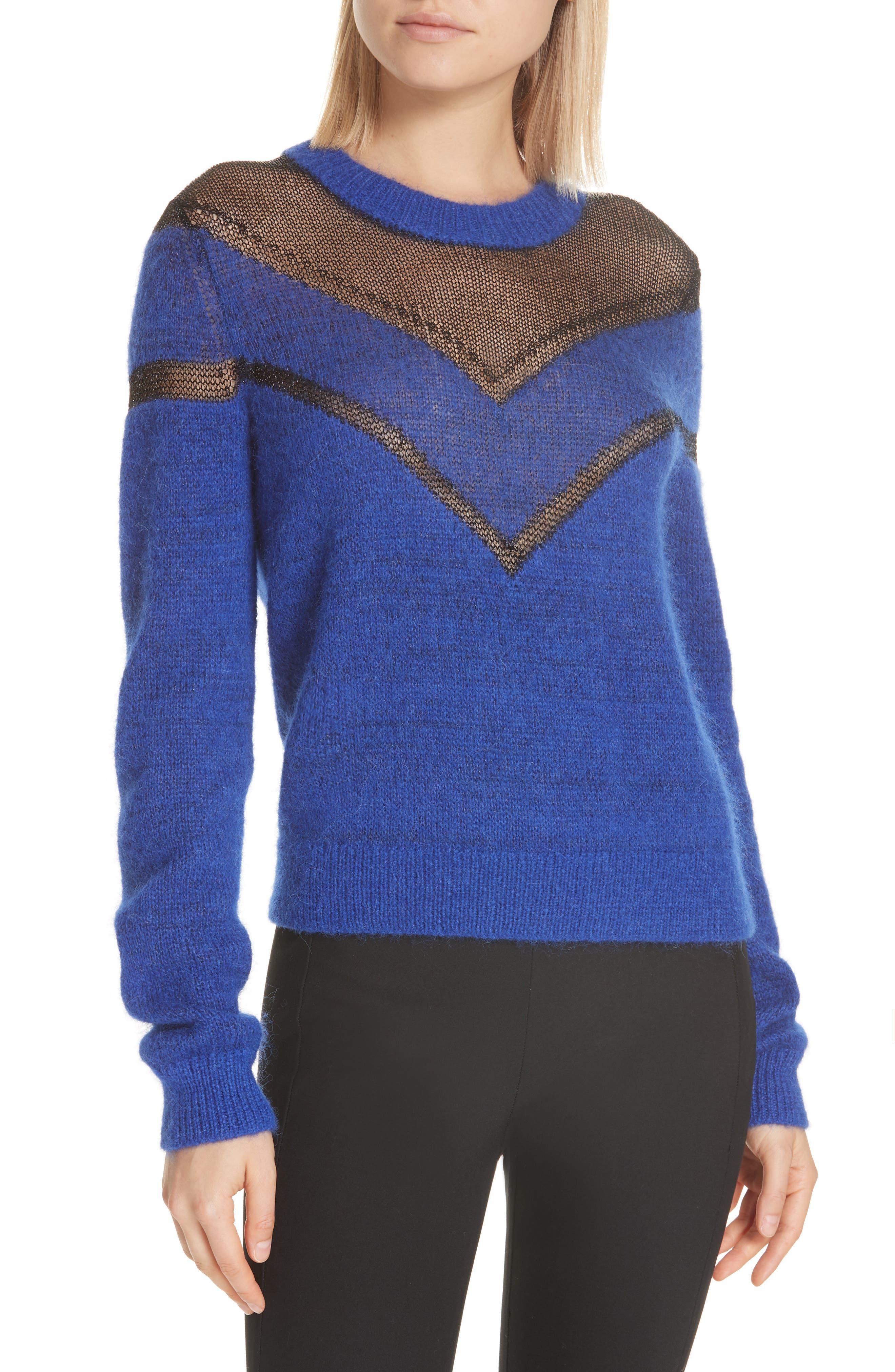 Rag & Bone Sheer Chevron Sweater, Blue