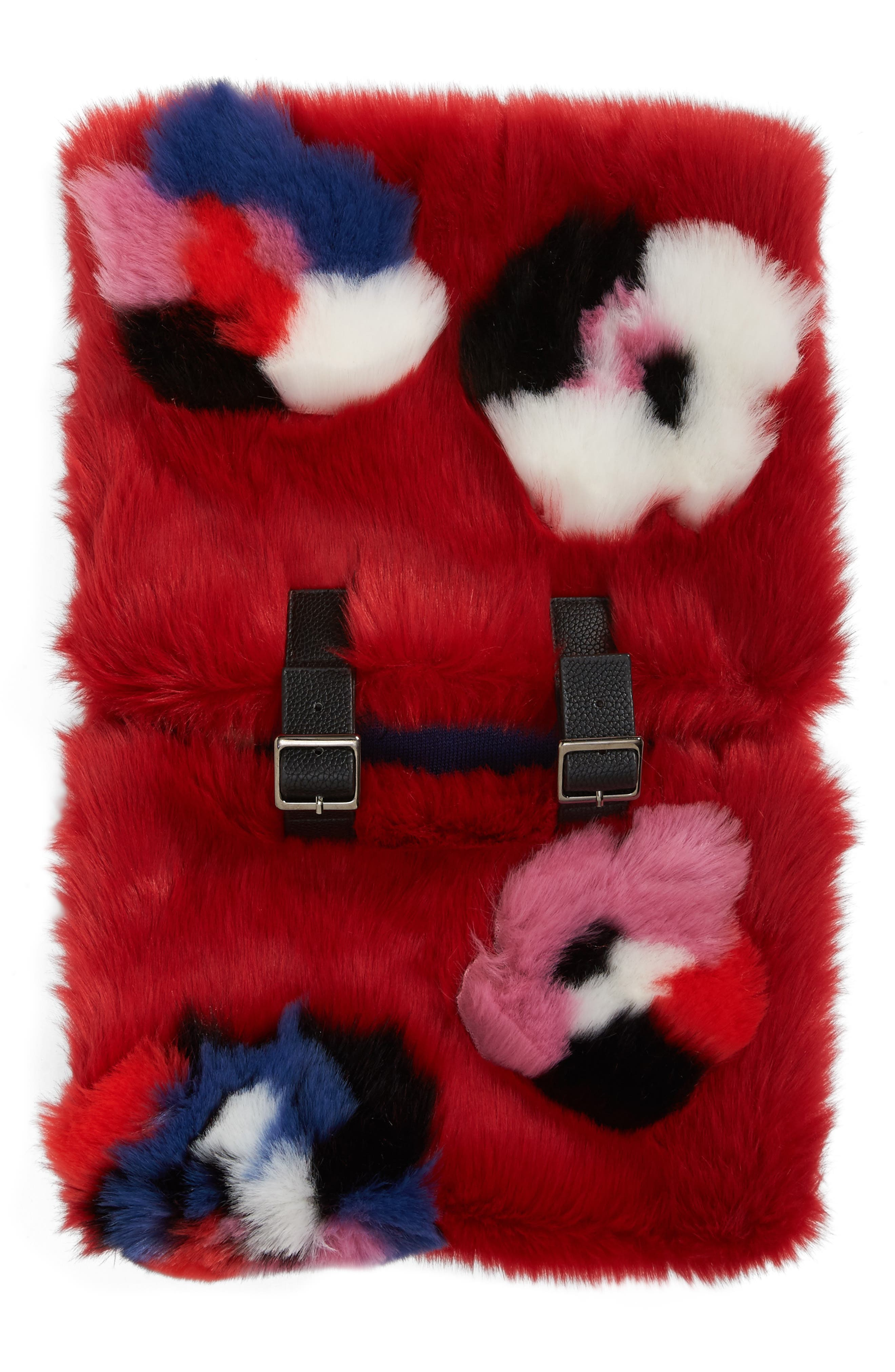 Buckled Faux Fur Cowl Scarf,                             Alternate thumbnail 9, color,