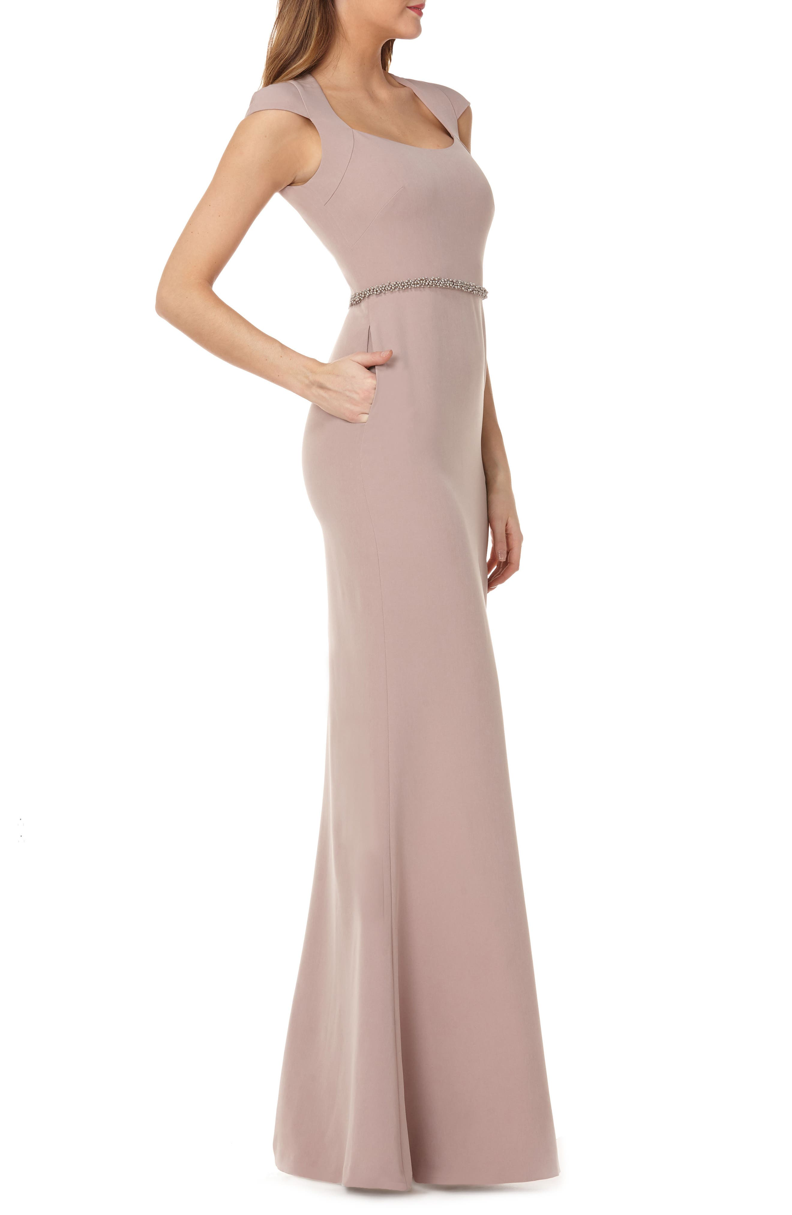 Cap Sleeve Stretch Crepe Gown,                             Alternate thumbnail 3, color,                             TAUPE