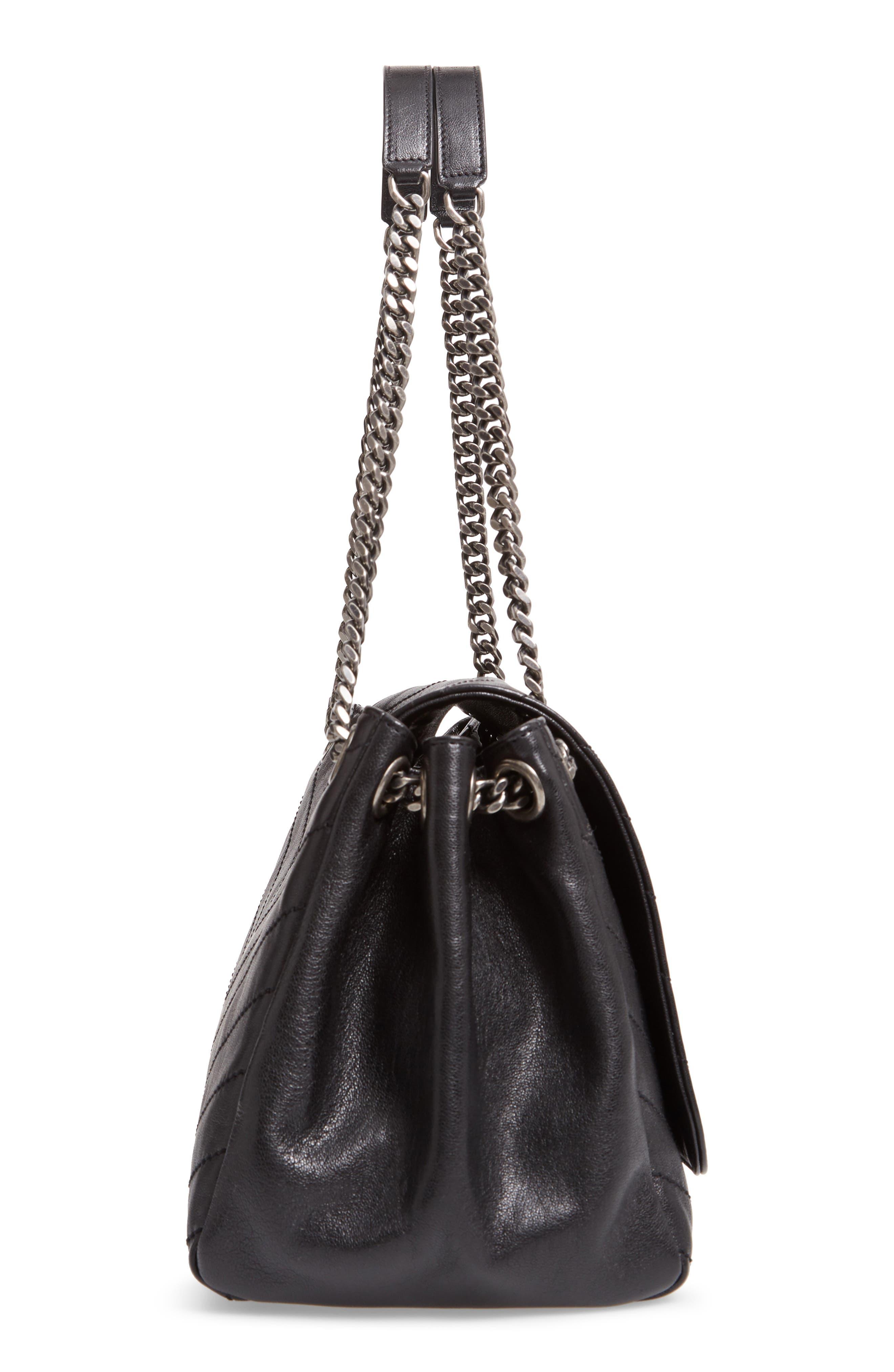 Nolita Large Leather Shoulder Bag,                             Alternate thumbnail 5, color,                             NOIR