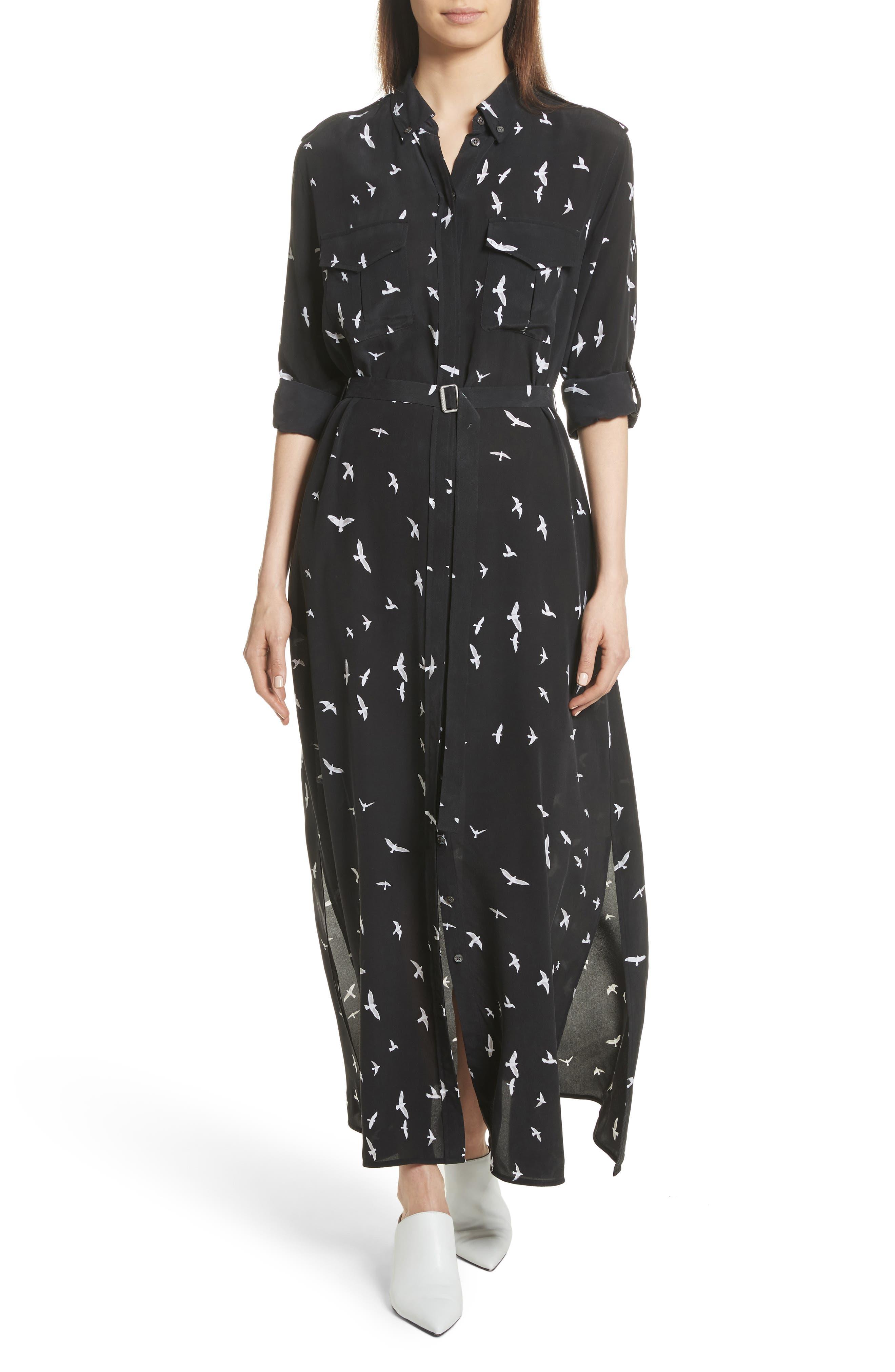 Bird Print Silk Maxi Dress,                         Main,                         color, 003