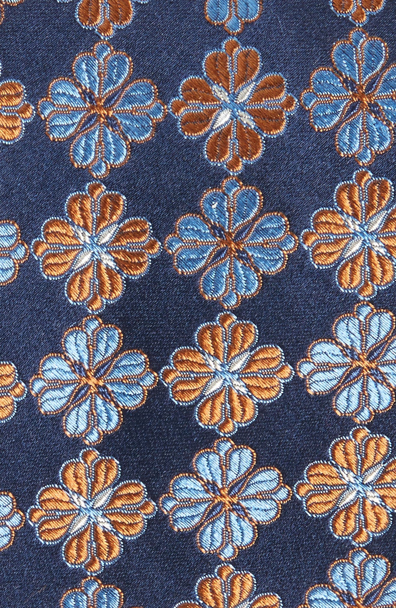 Cole Floral Silk Tie,                             Alternate thumbnail 2, color,                             NAVY