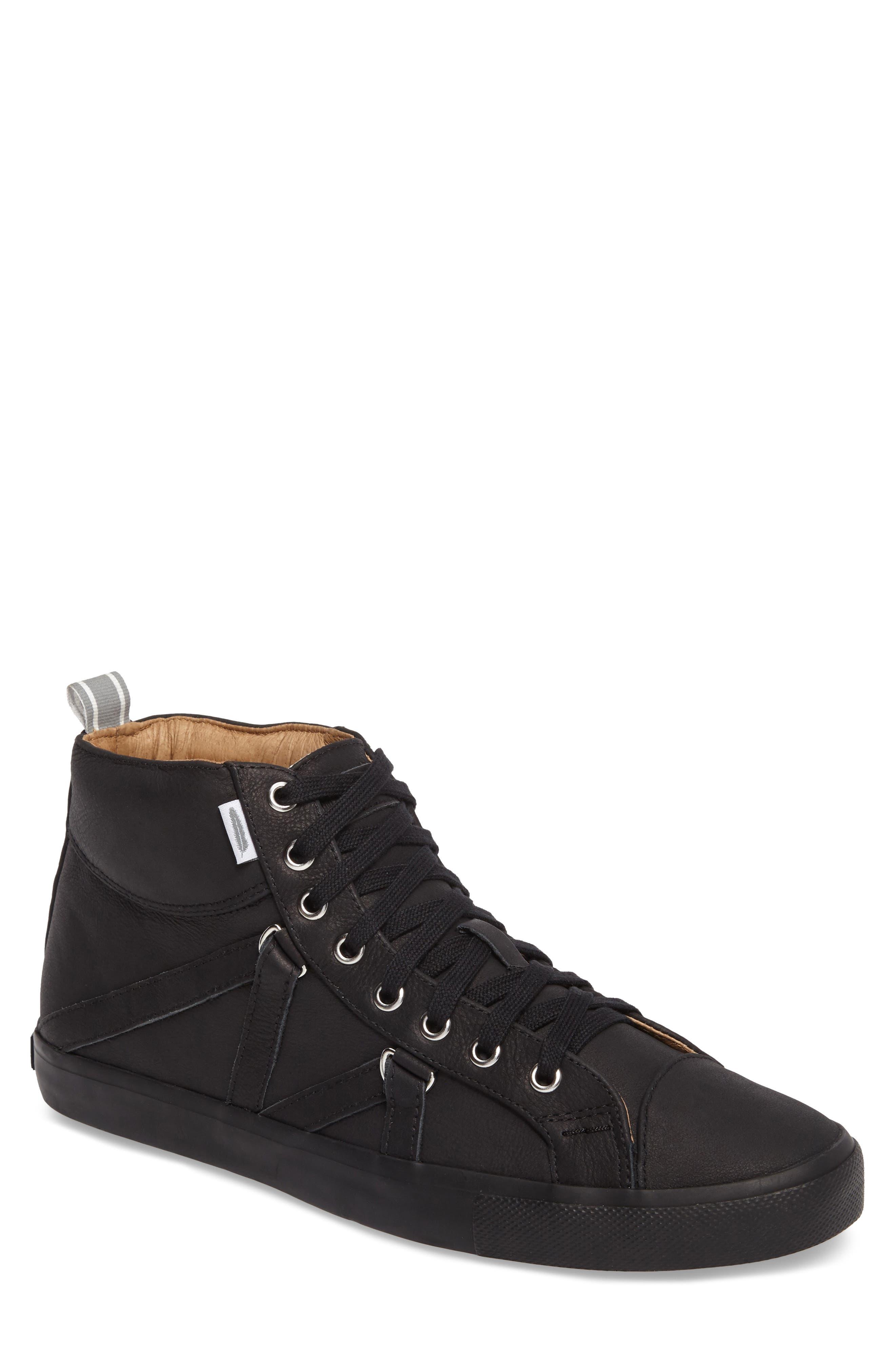 Signature High Top Sneaker,                         Main,                         color, NERO LEATHER