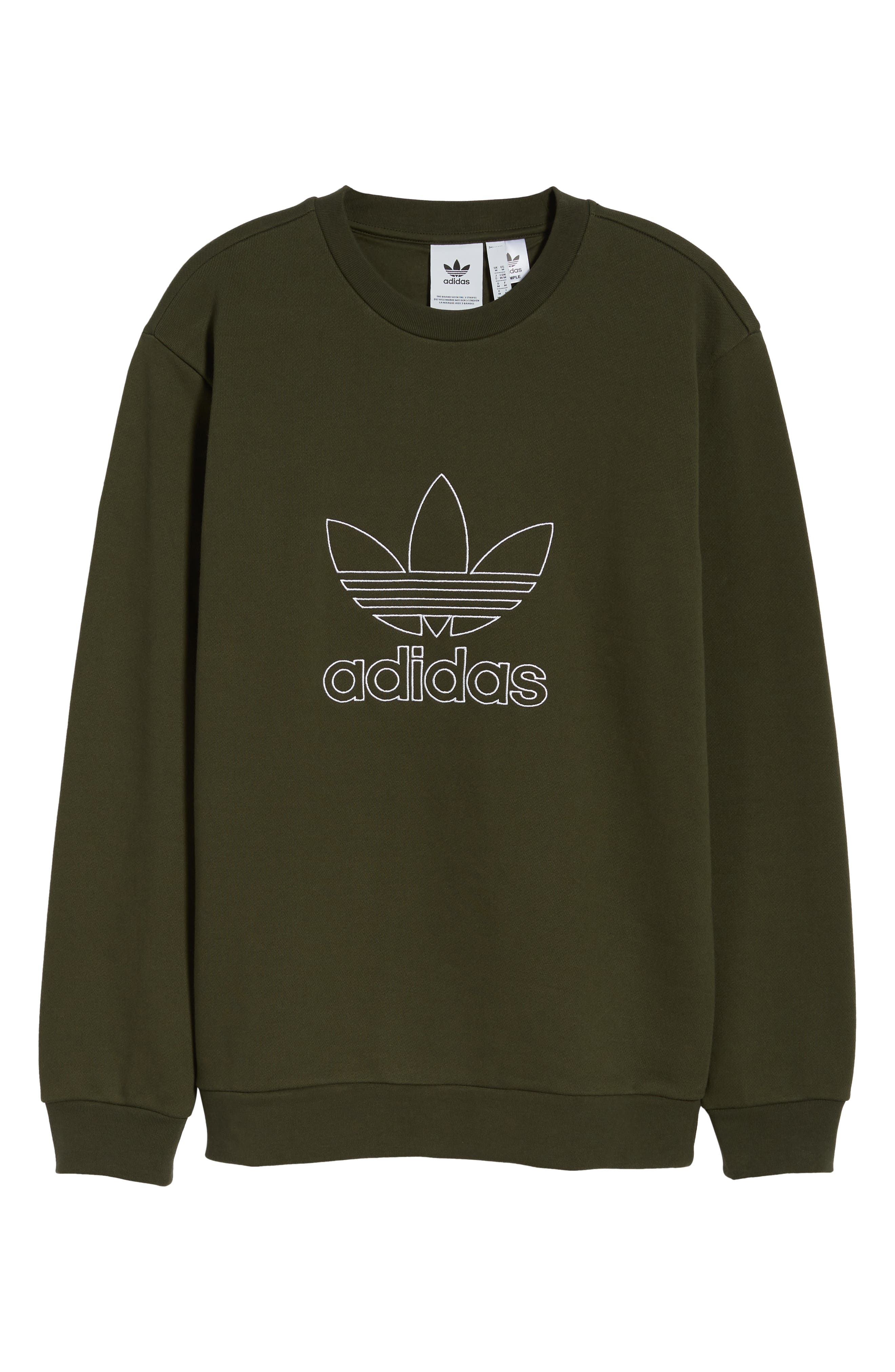 adidas Outline Trefoil Crewneck Sweatshirt,                             Alternate thumbnail 6, color,                             307