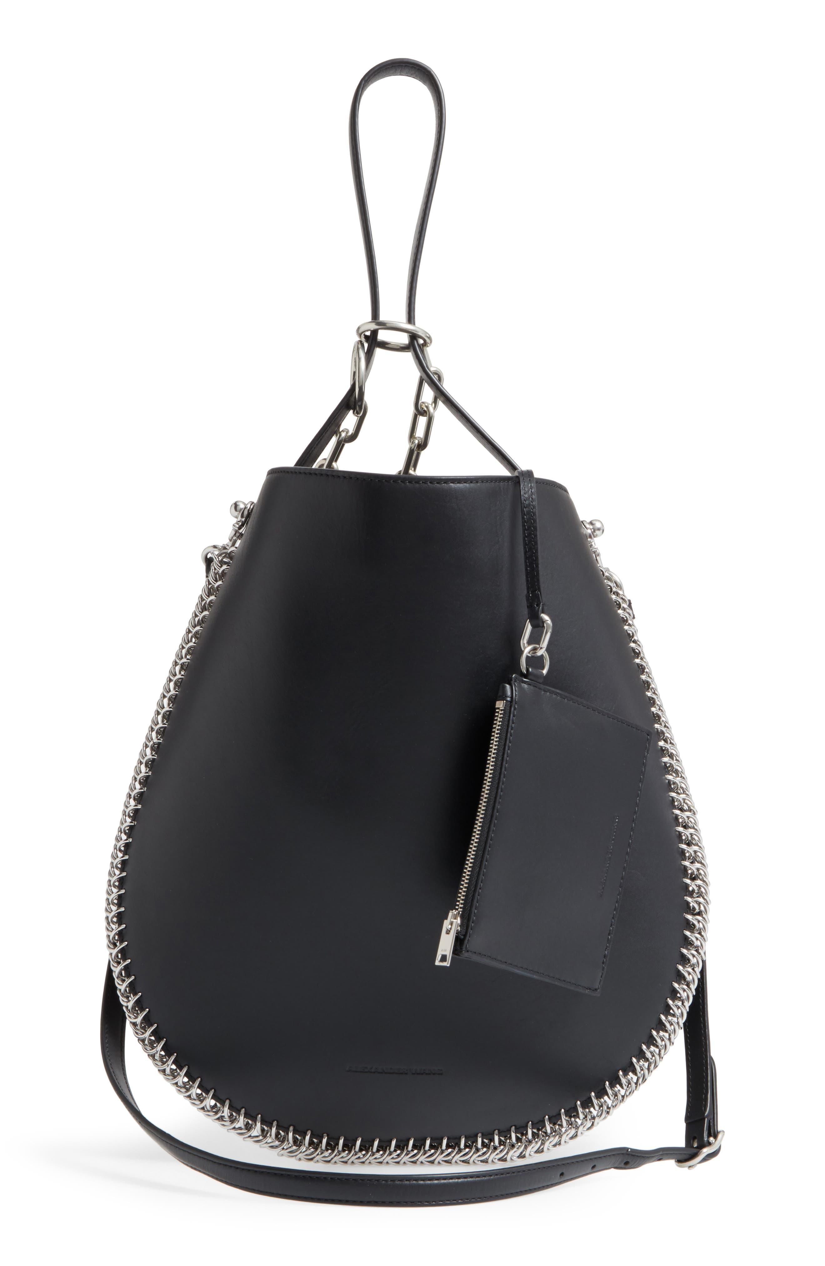 Roxy Studded Leather Hobo Bag,                             Alternate thumbnail 3, color,                             001