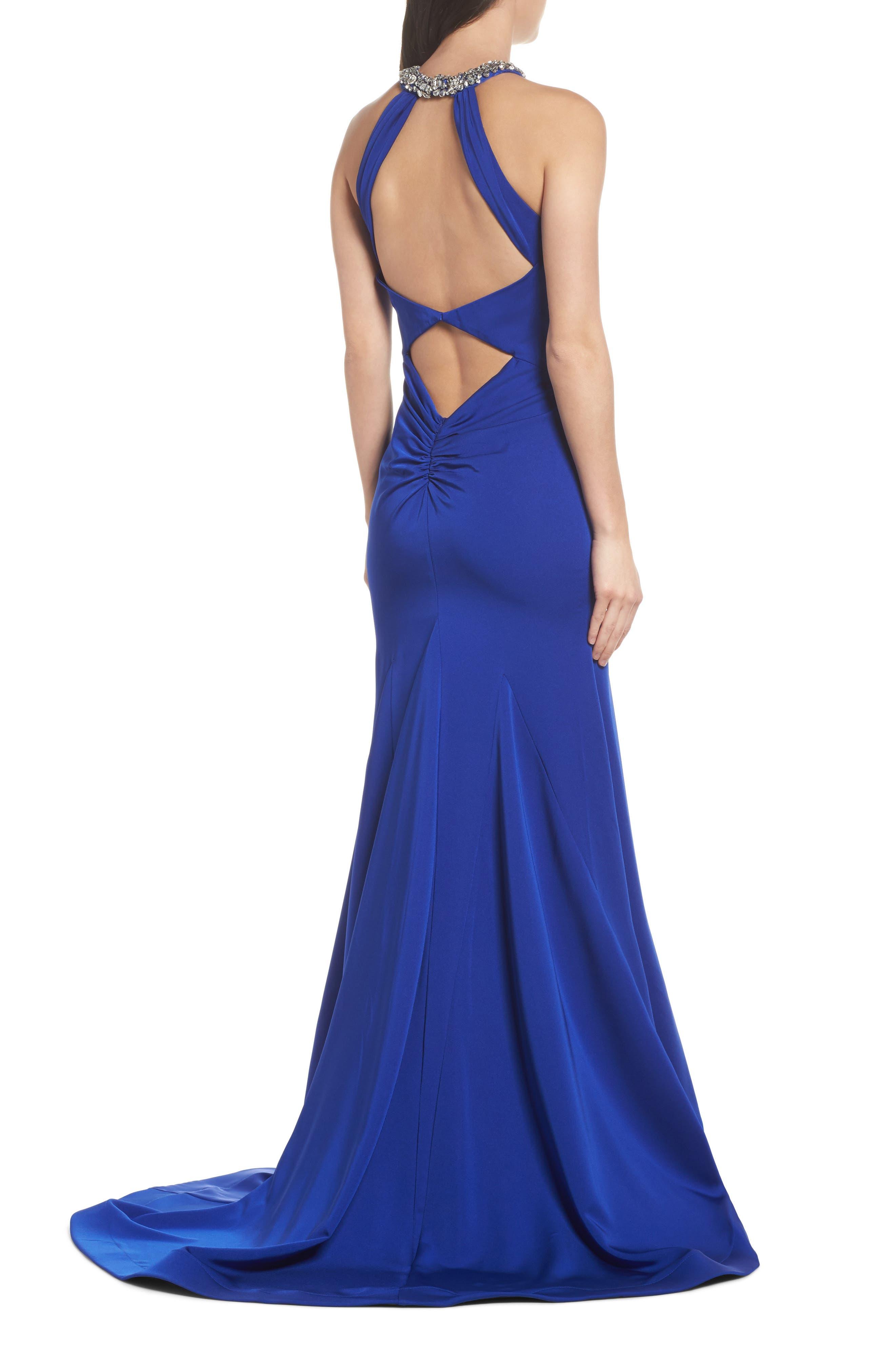 Jewel Neck Mermaid Gown,                             Alternate thumbnail 2, color,                             COBALT