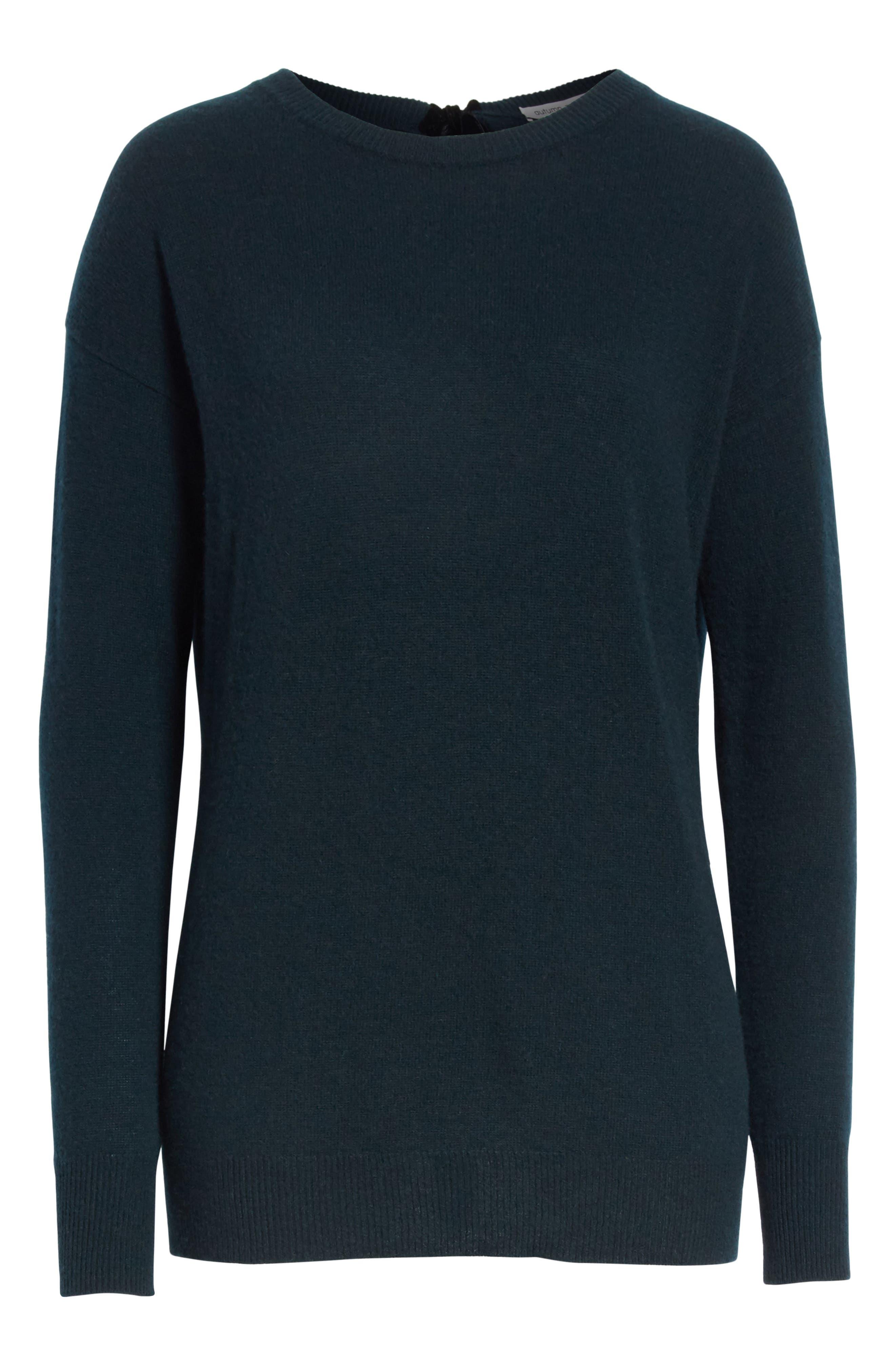 Velvet Tie Cashmere Sweater,                             Alternate thumbnail 6, color,                             320