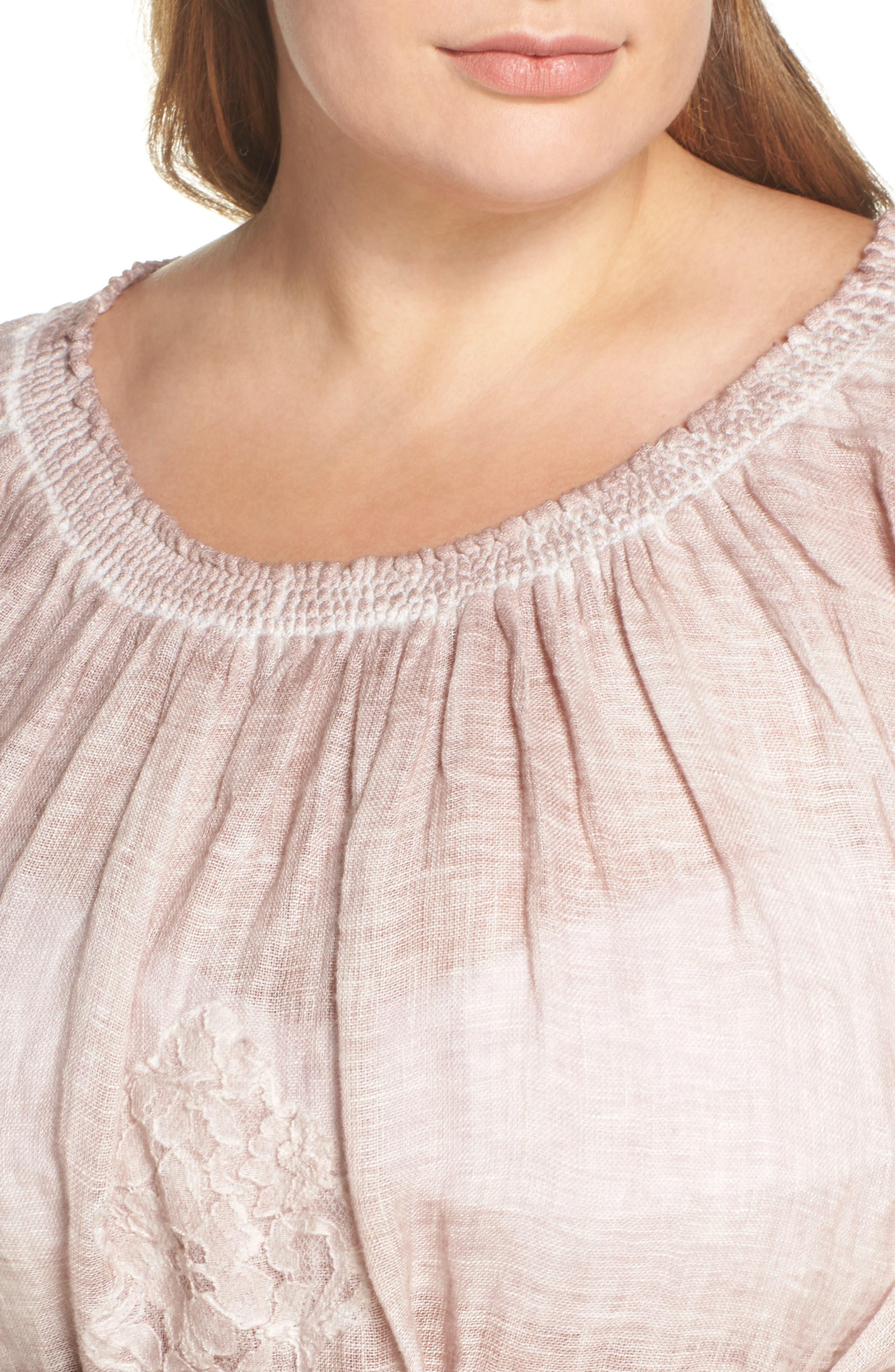 Daisy Linen Cover-Up Dress,                             Alternate thumbnail 4, color,                             652