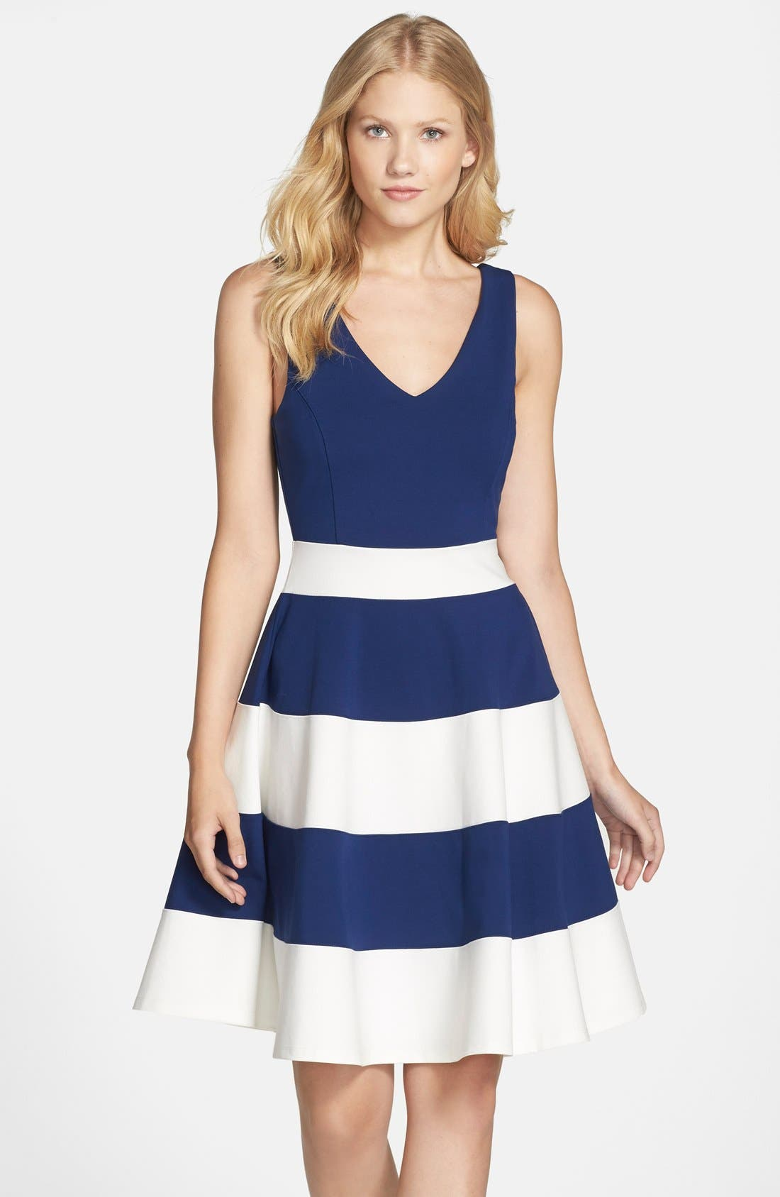 Joice Sleeveless Fit & Flare Dress,                         Main,                         color, NAVY/ WHITE