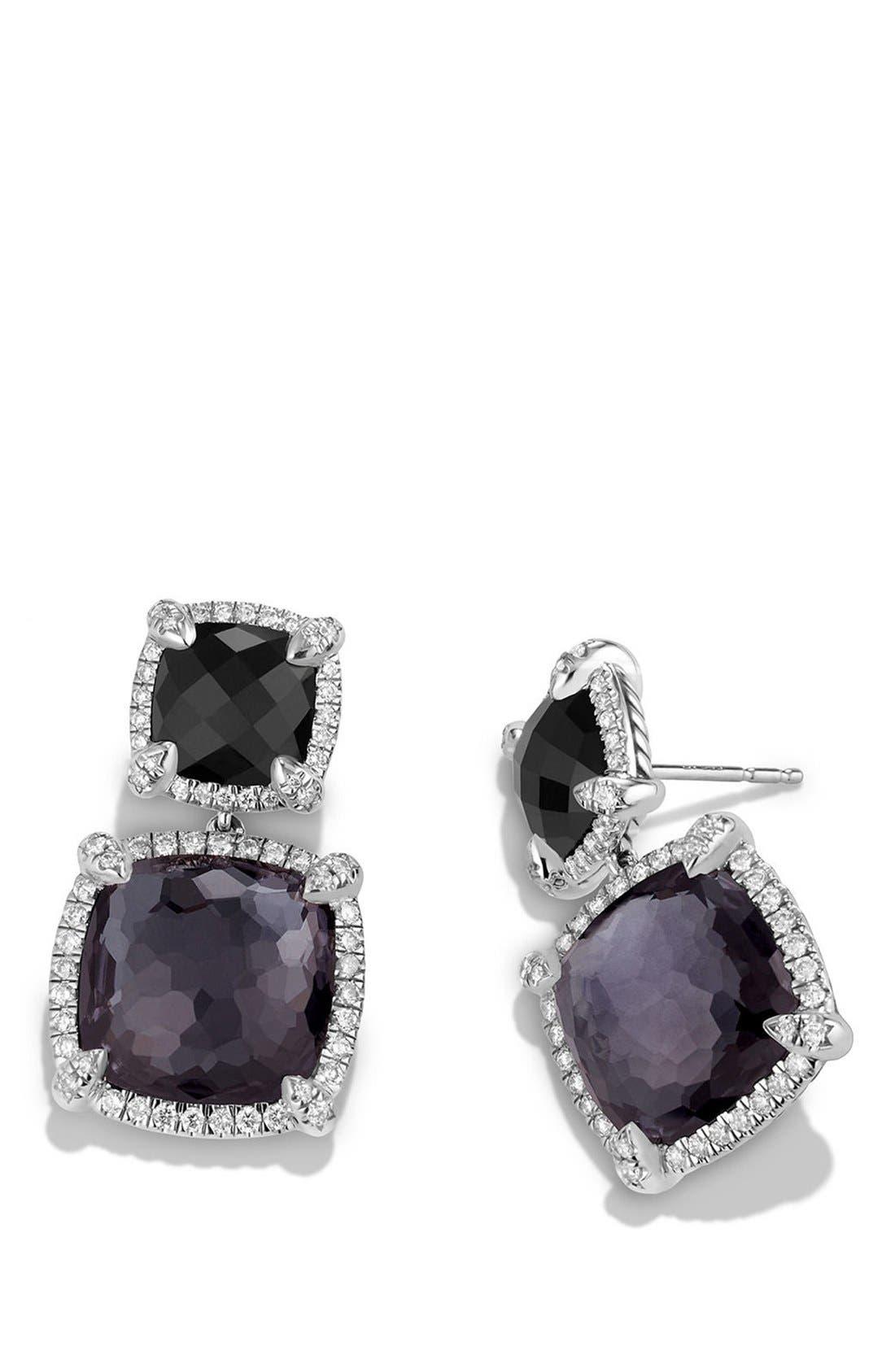 'Châtelaine' Pavé Bezel Double Drop Earrings with Diamonds,                             Alternate thumbnail 3, color,                             BLACK ONYX