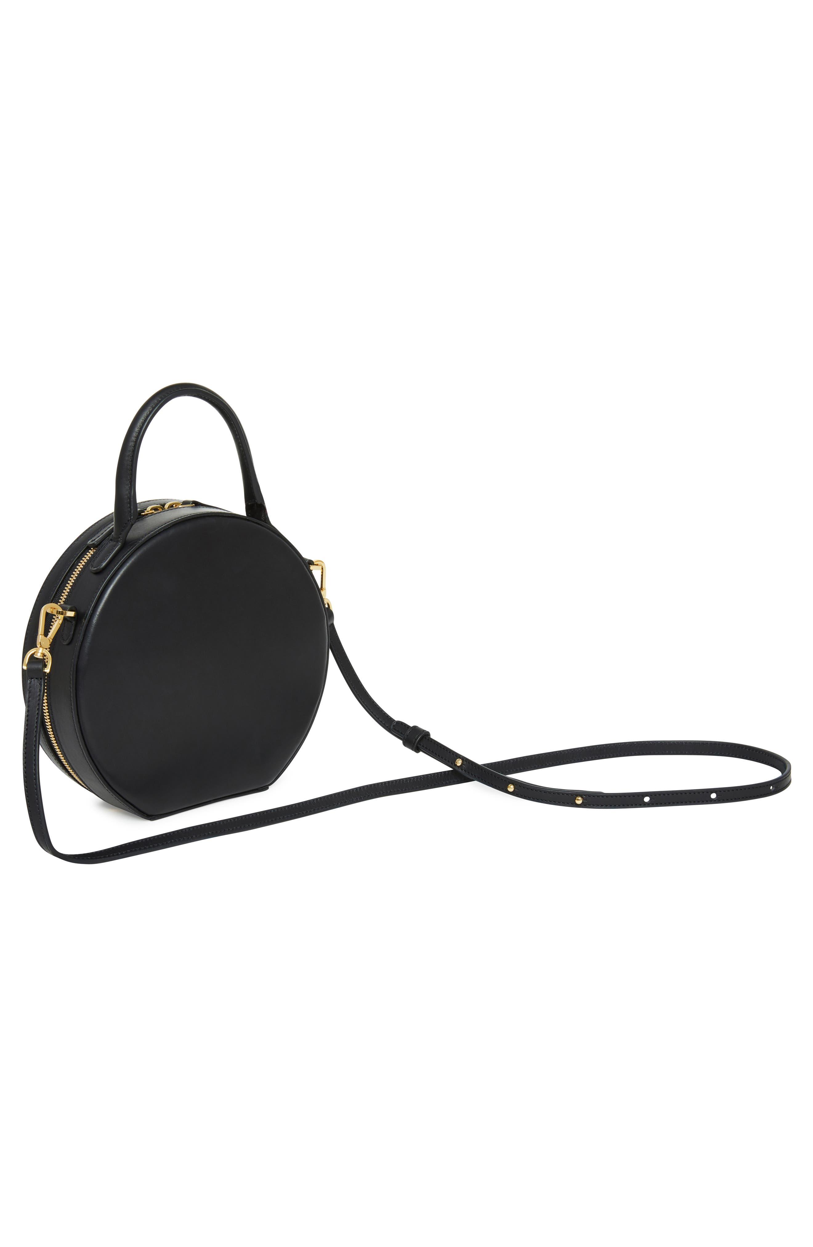 Leather Circle Crossbody Bag,                             Alternate thumbnail 3, color,                             BLACK