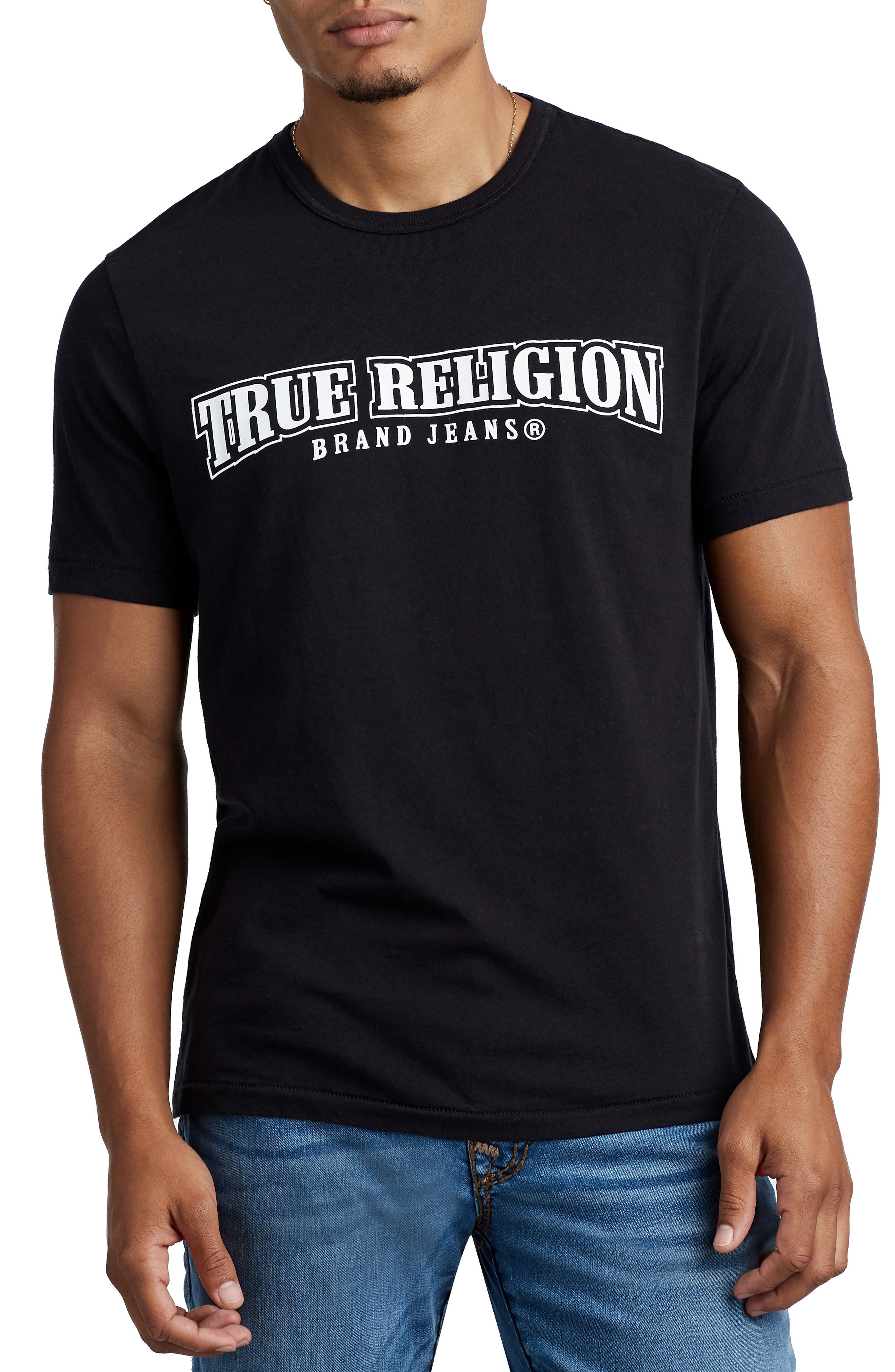 Arch Logo T-Shirt,                         Main,                         color, TRUEST BLACK