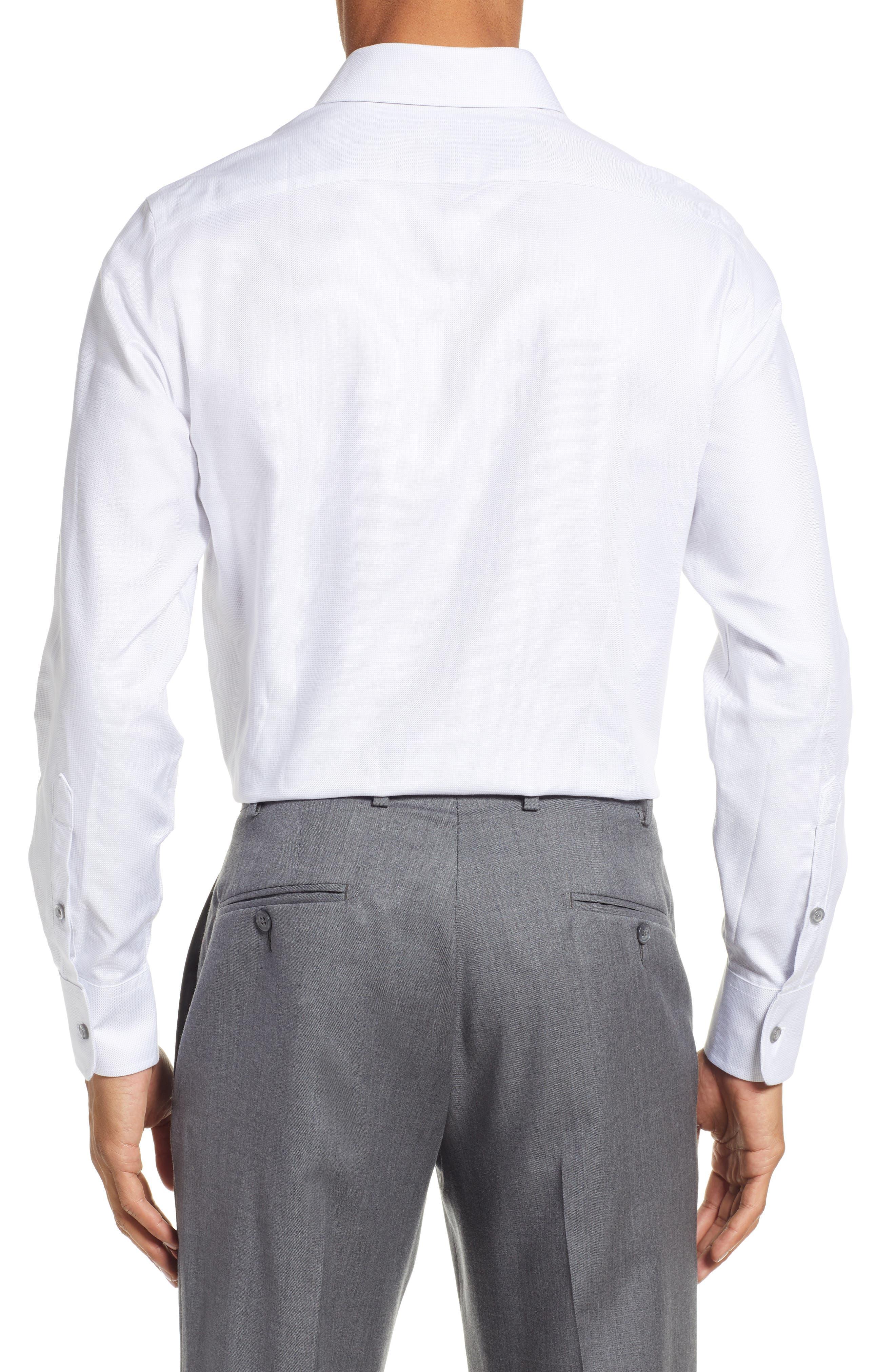 Slim Fit Solid Dress Shirt,                             Alternate thumbnail 3, color,                             GREY DOBBY