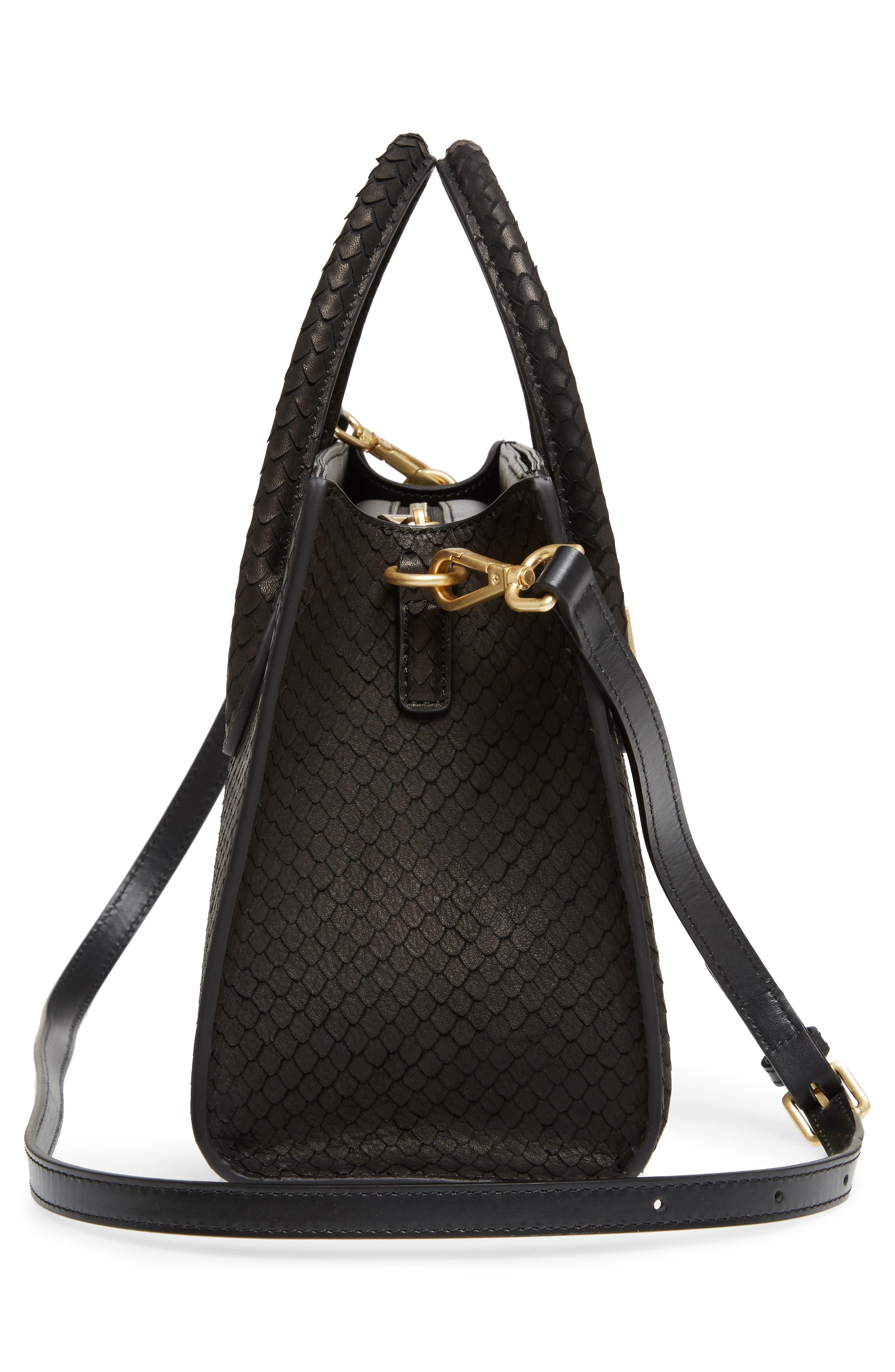 Céline Dion Octave Snake Embossed Leather Satchel,                             Alternate thumbnail 5, color,