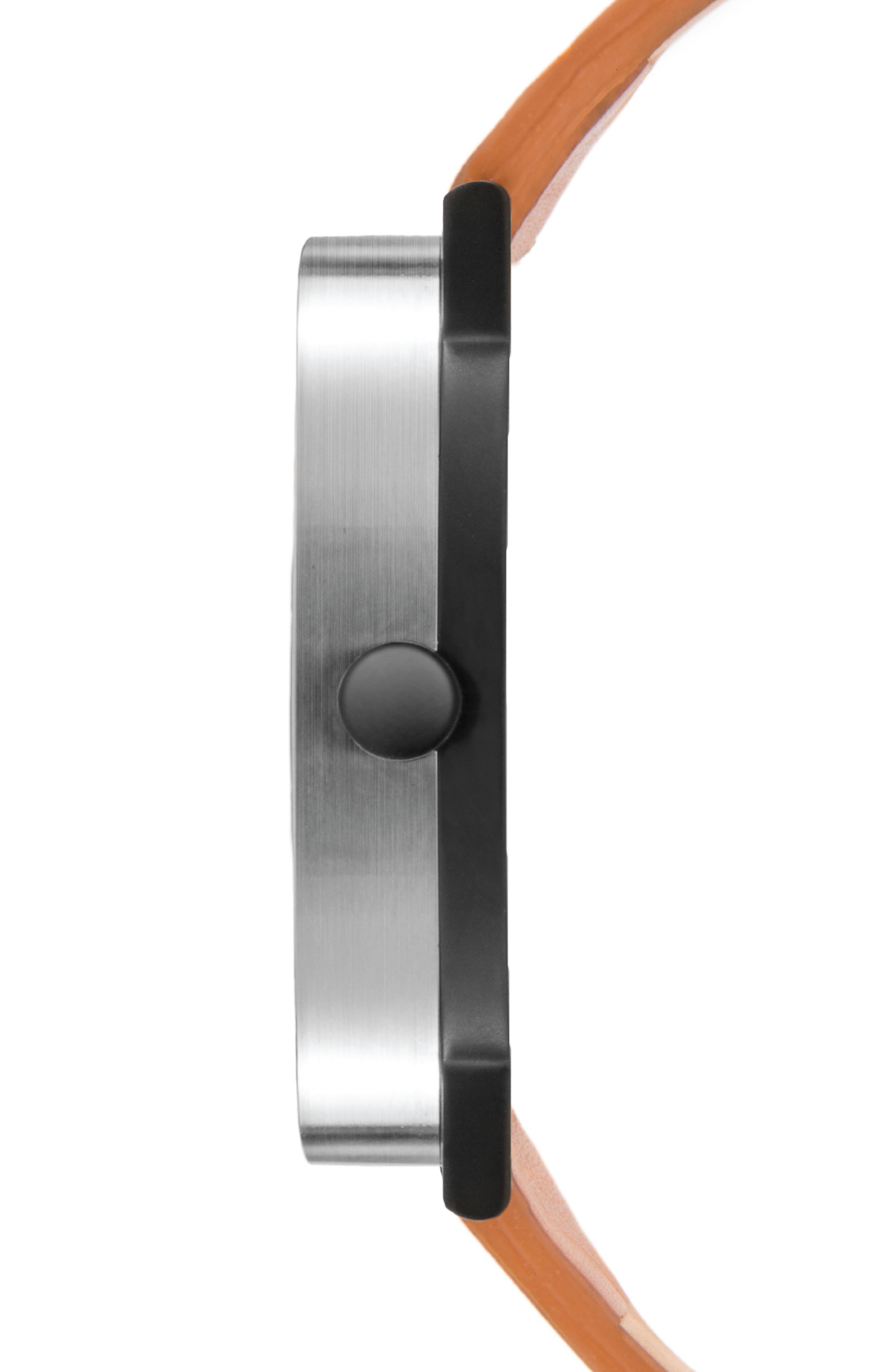 Thompson Leather Strap Watch, 40mm,                             Alternate thumbnail 3, color,                             CHESTNUT/ WHITE/ BLACK
