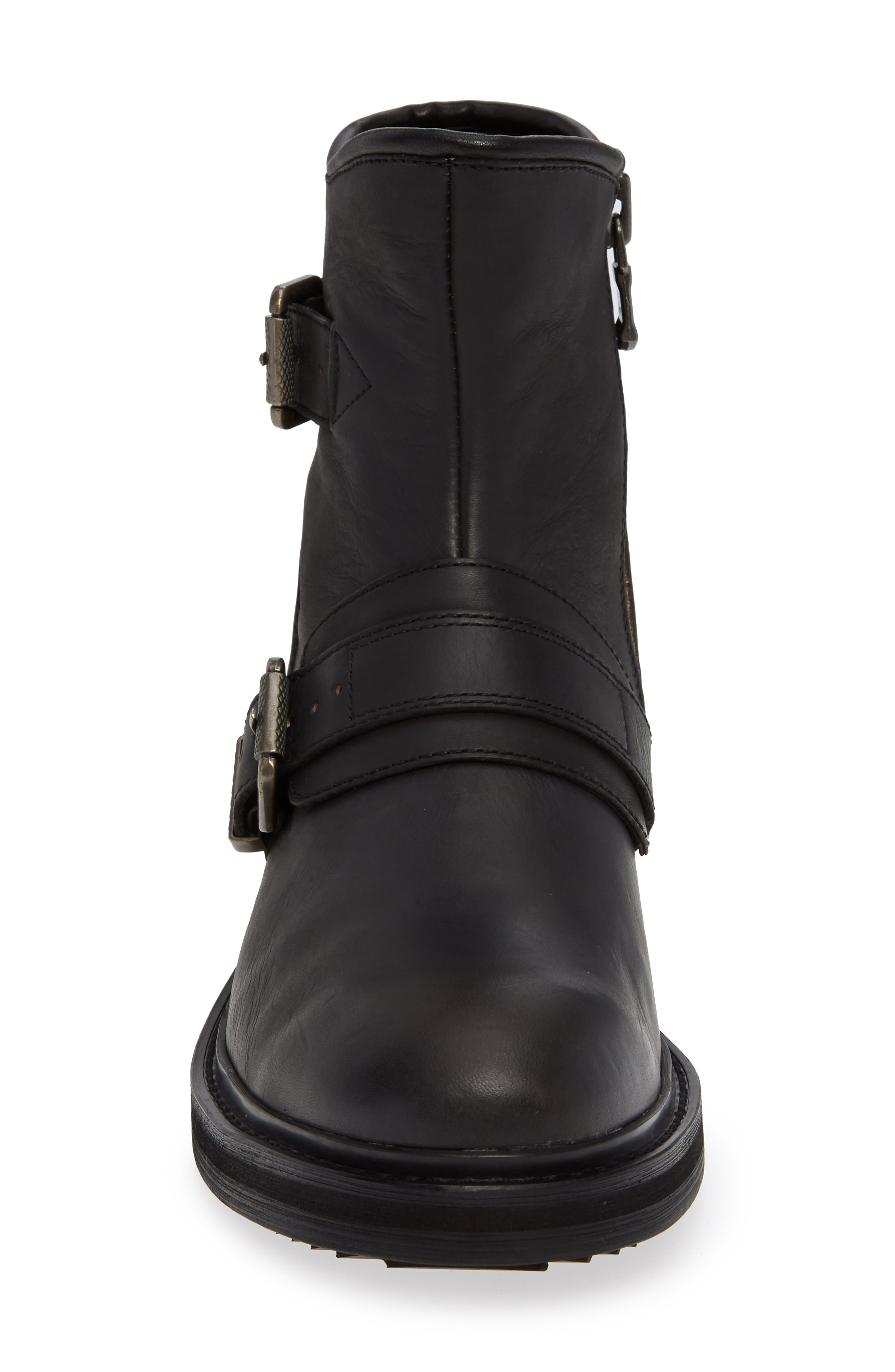 Cooper Moto Buckle Boot,                             Alternate thumbnail 4, color,                             MINERAL BLACK LEATHER