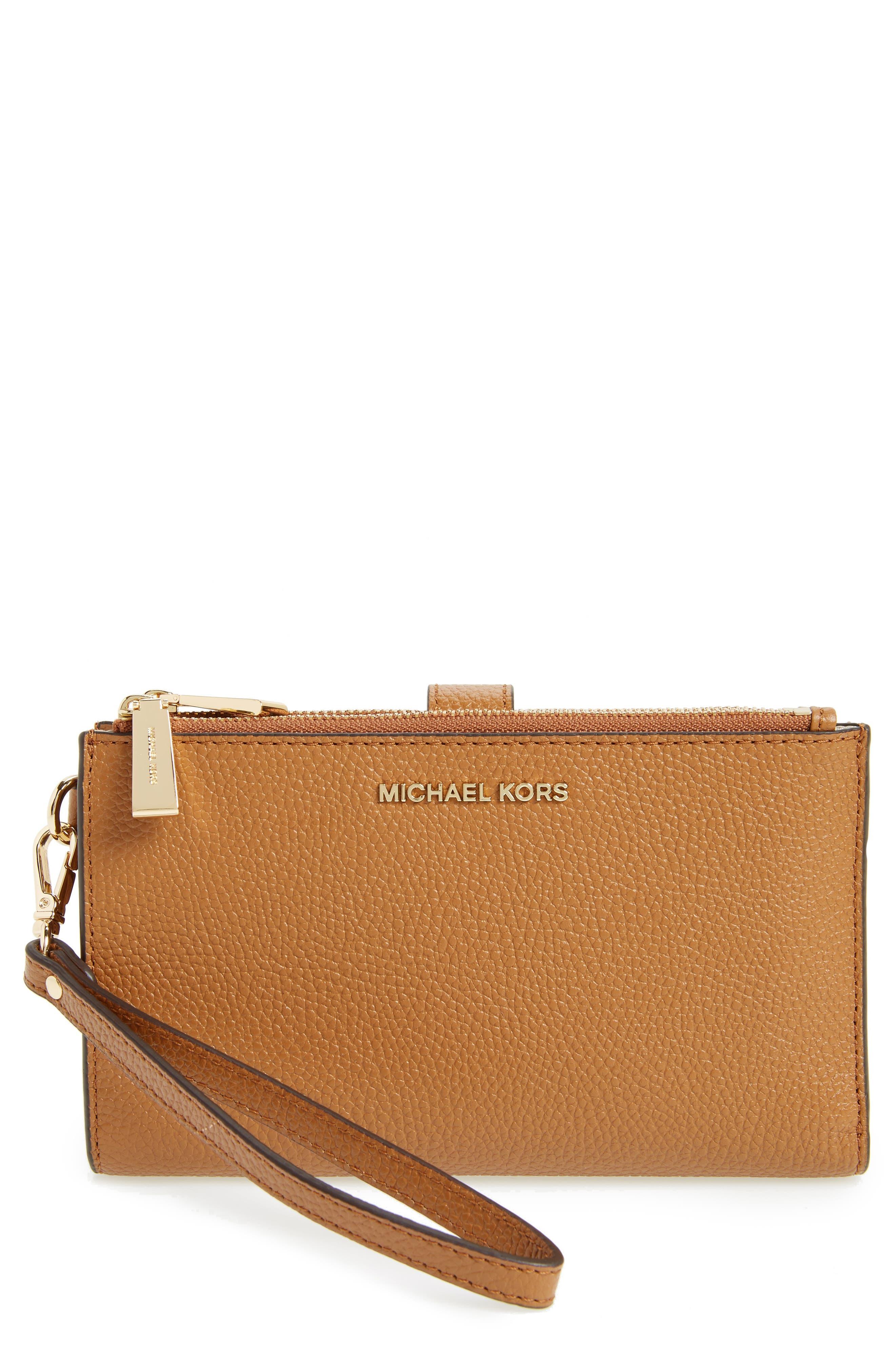 Adele Leather Wristlet,                         Main,                         color, 232
