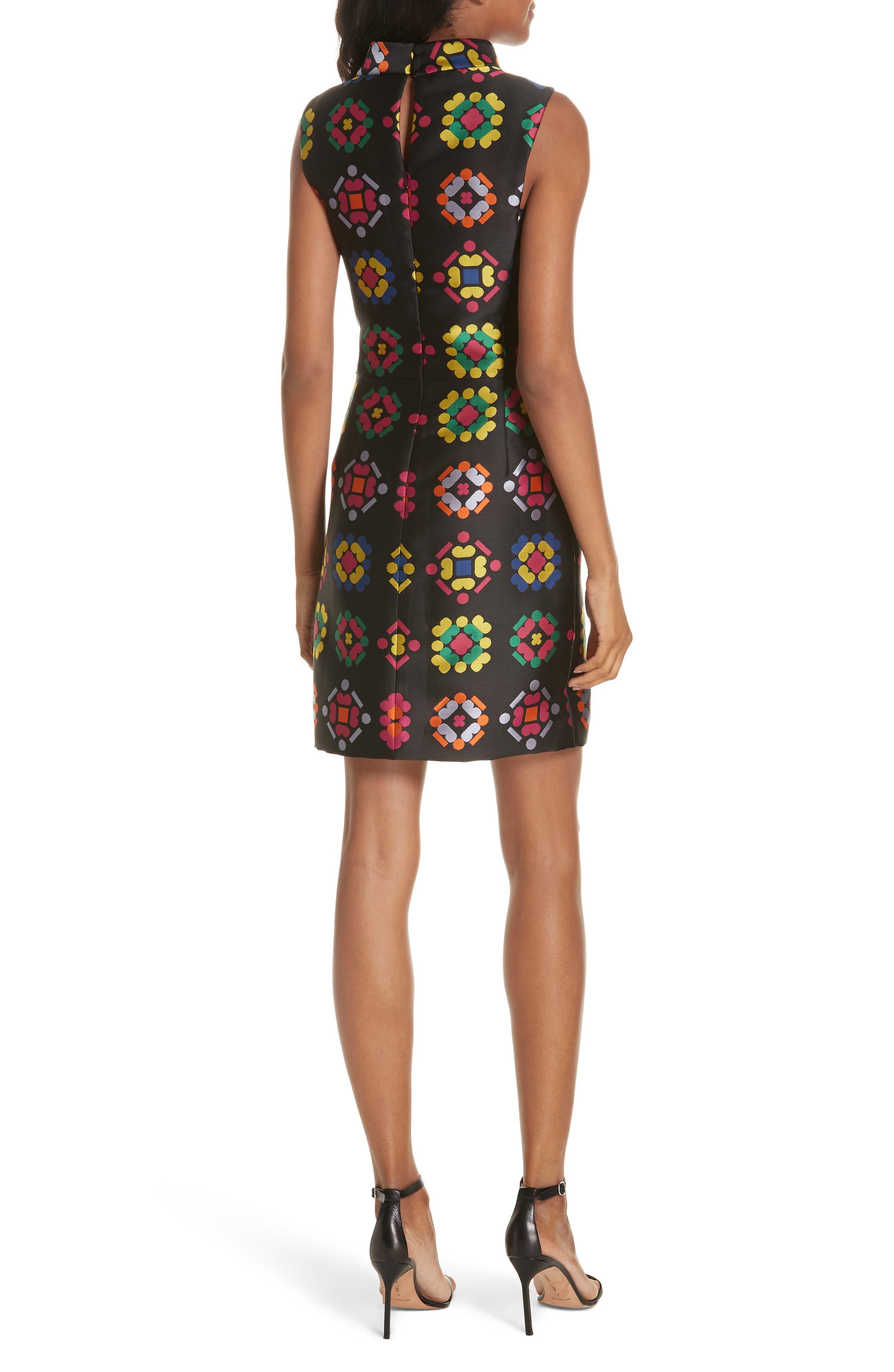 Melinda Geometric Jacquard Sheath Dress,                             Alternate thumbnail 2, color,                             001