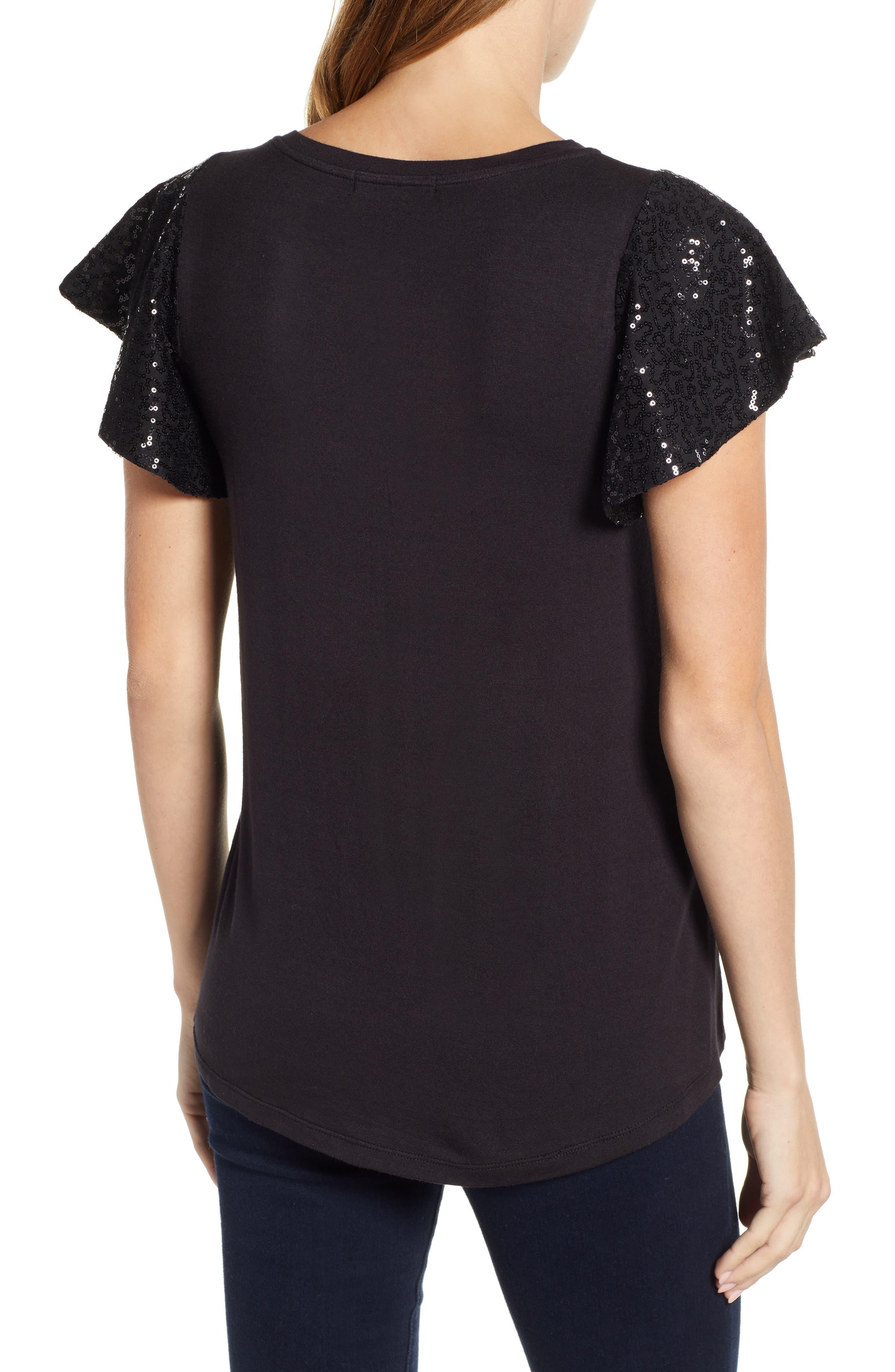 x Glam Squad Sequin Flutter Sleeve Top,                             Alternate thumbnail 3, color,                             BLACK