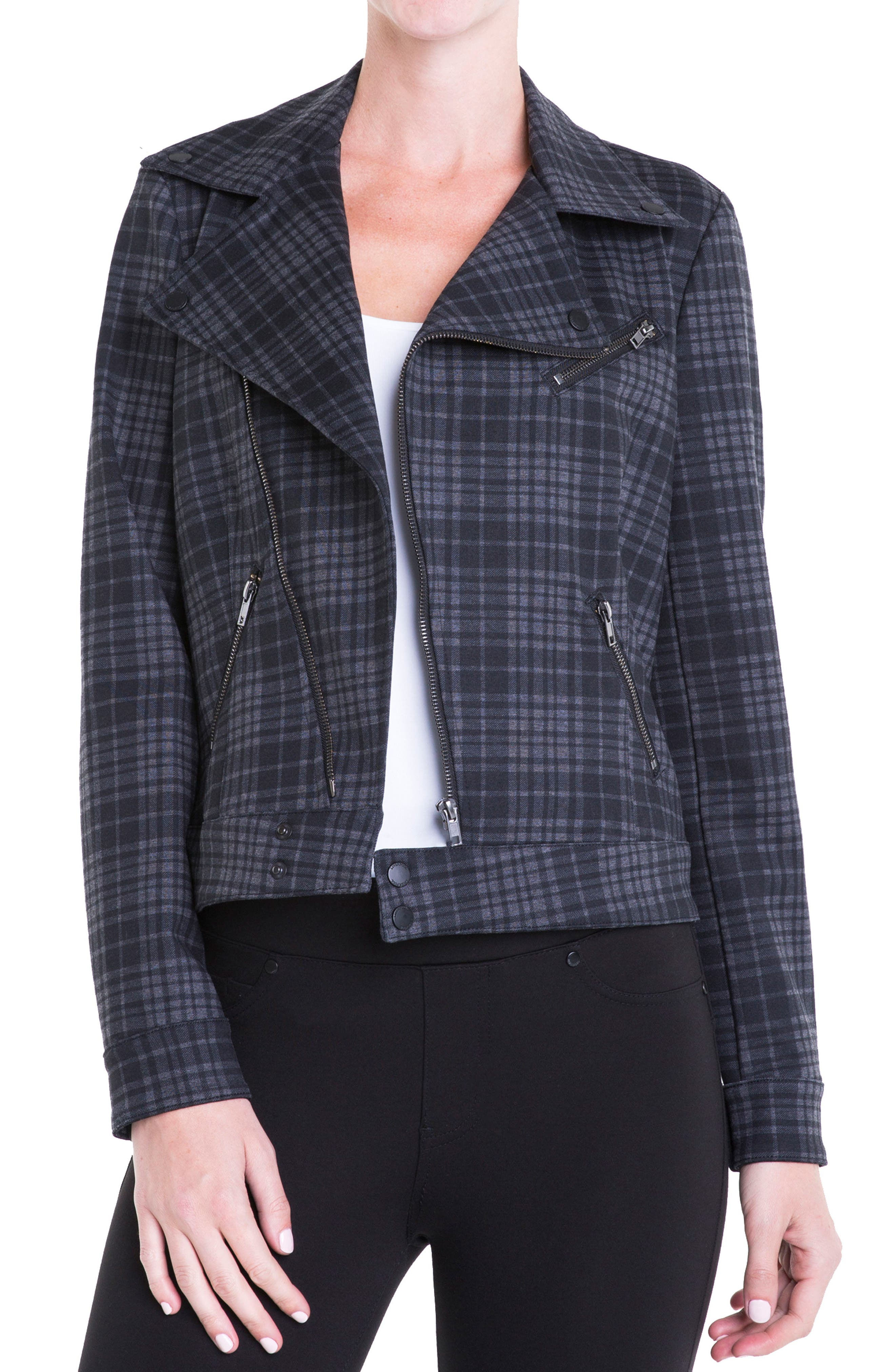 Plaid Moto Jacket,                             Main thumbnail 1, color,                             020