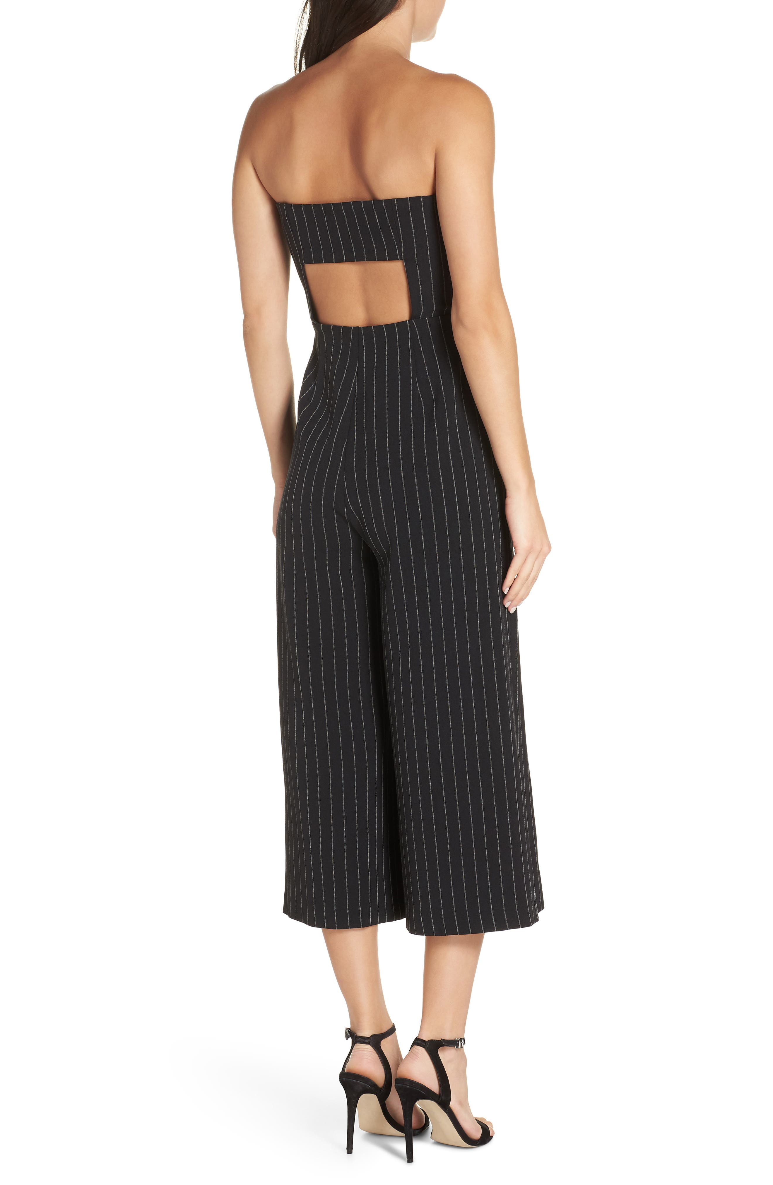 Pinstripe Tie Front Jumpsuit,                             Alternate thumbnail 2, color,                             001
