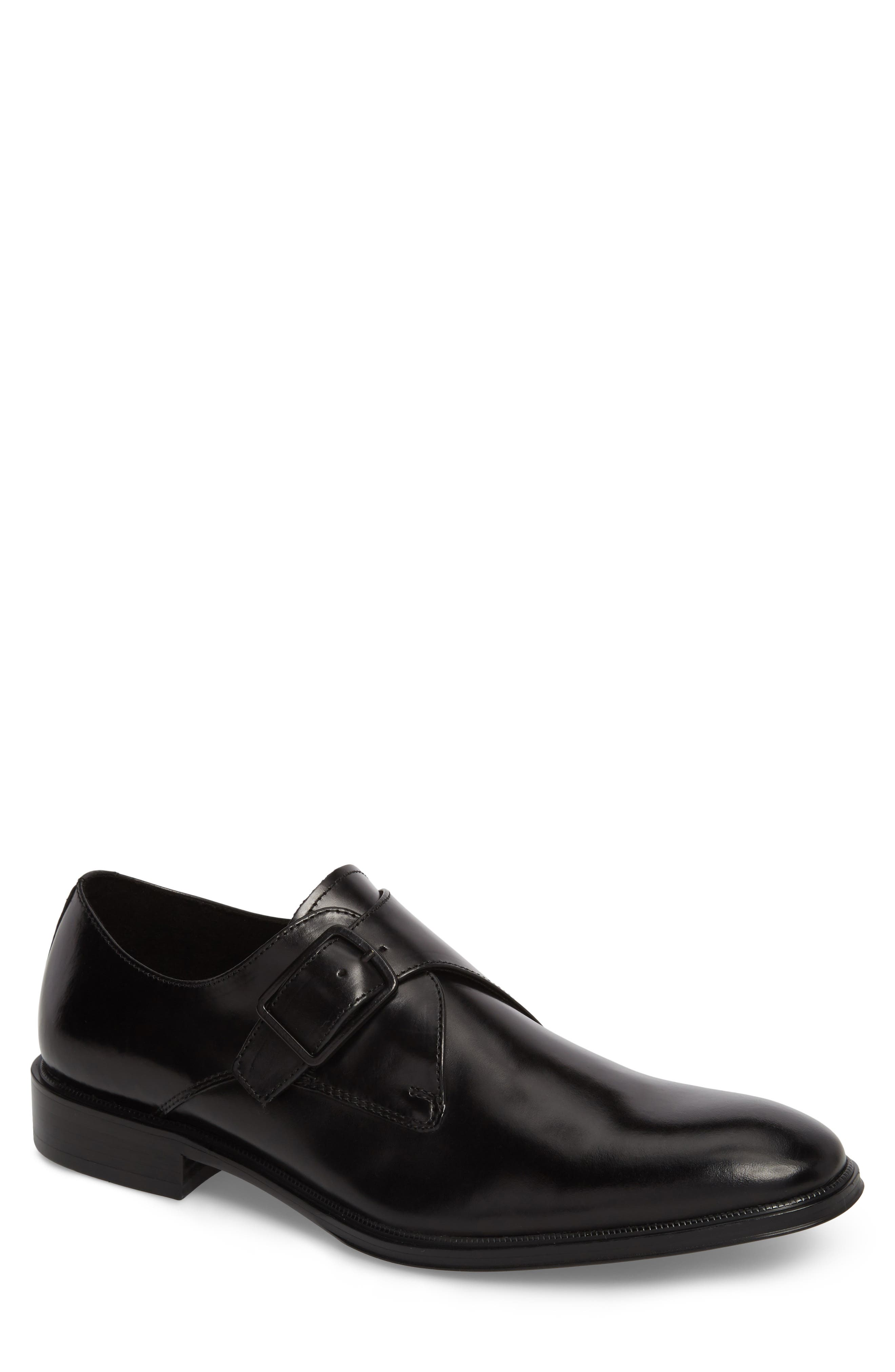 Tully Single Buckle Monk Shoe,                             Main thumbnail 1, color,                             BLACK LEATHER