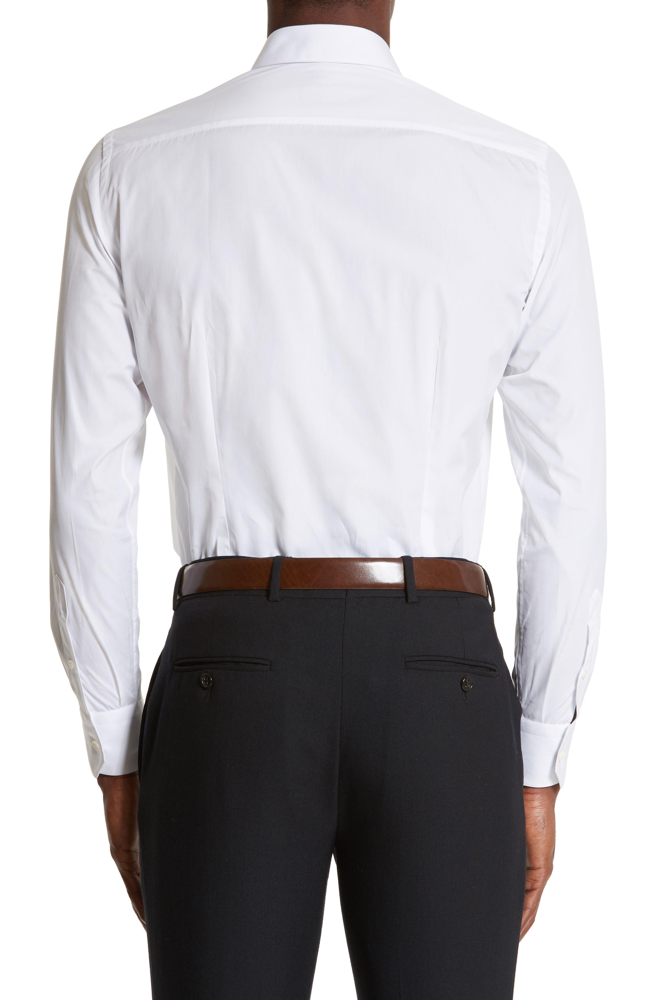Extra Trim Fit Cotton Dress Shirt,                             Alternate thumbnail 3, color,                             100