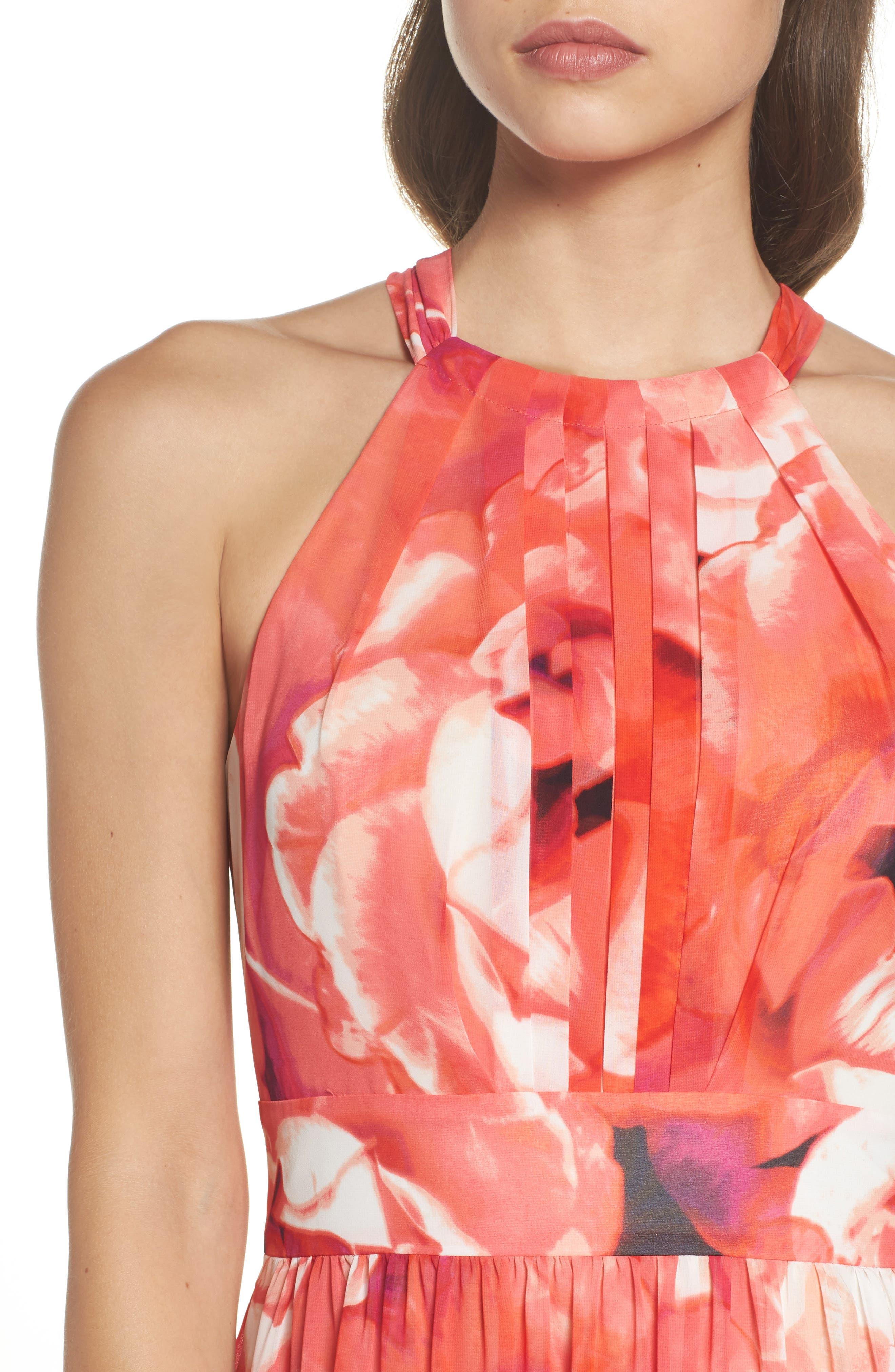 Print Chiffon Fit & Flare Maxi Dress,                             Alternate thumbnail 5, color,                             650