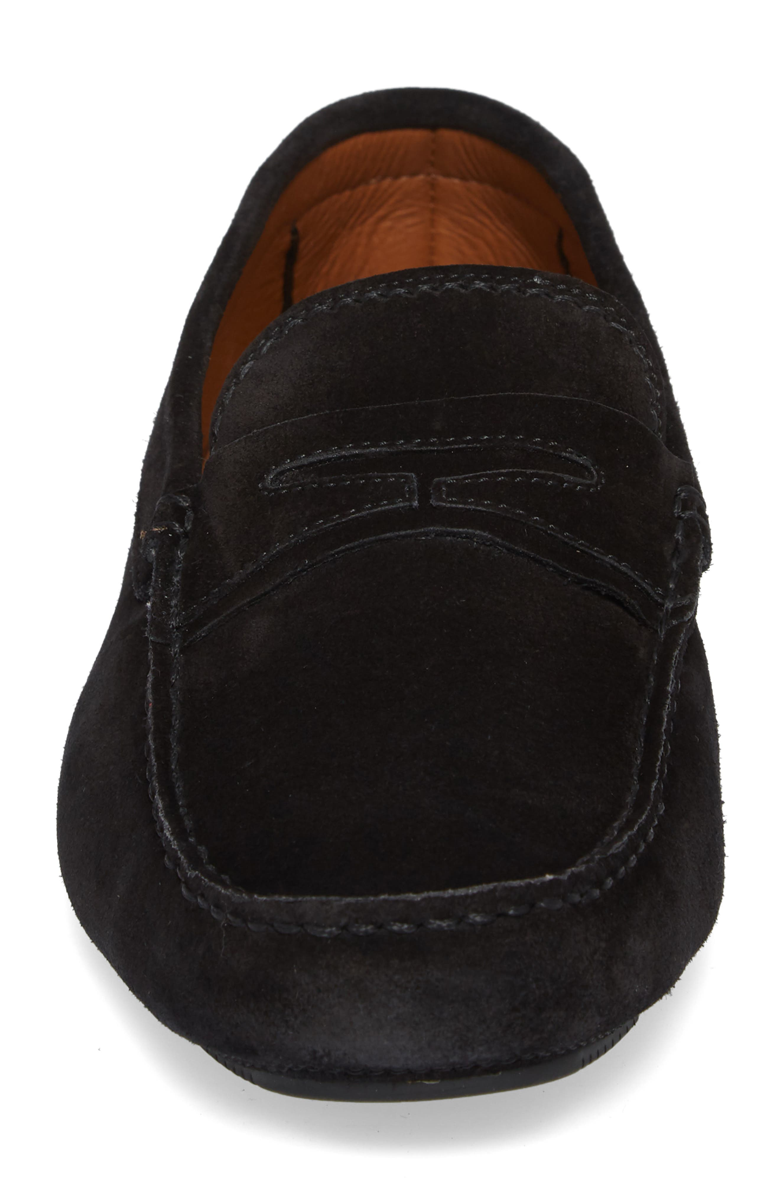 Brandon Weatherproof Driving Loafer,                             Alternate thumbnail 4, color,                             BLACK SUEDE
