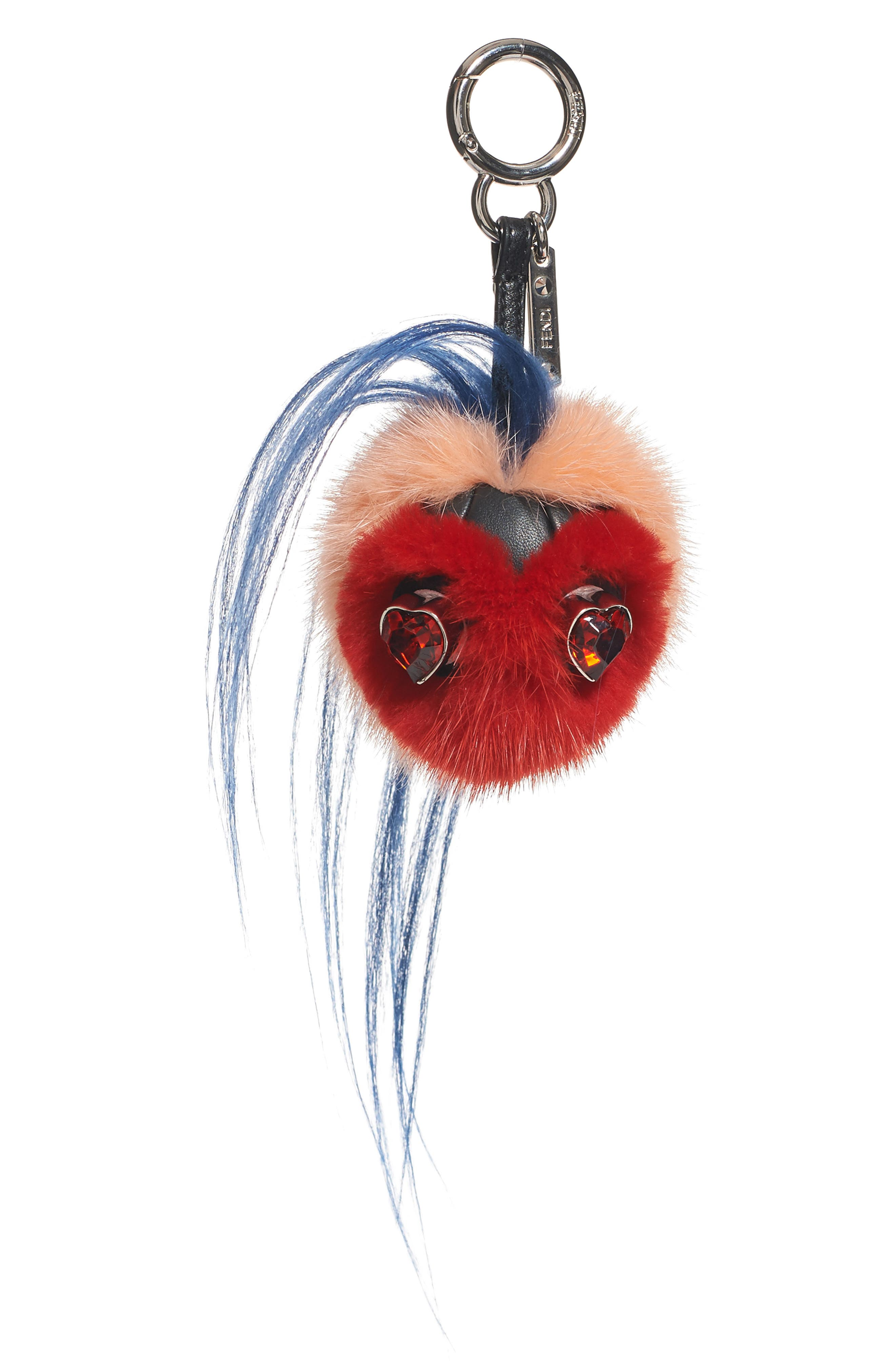 FENDI,                             Heart Genuine Mink & Goat Fur Bag Charm,                             Main thumbnail 1, color,                             RED MULTI