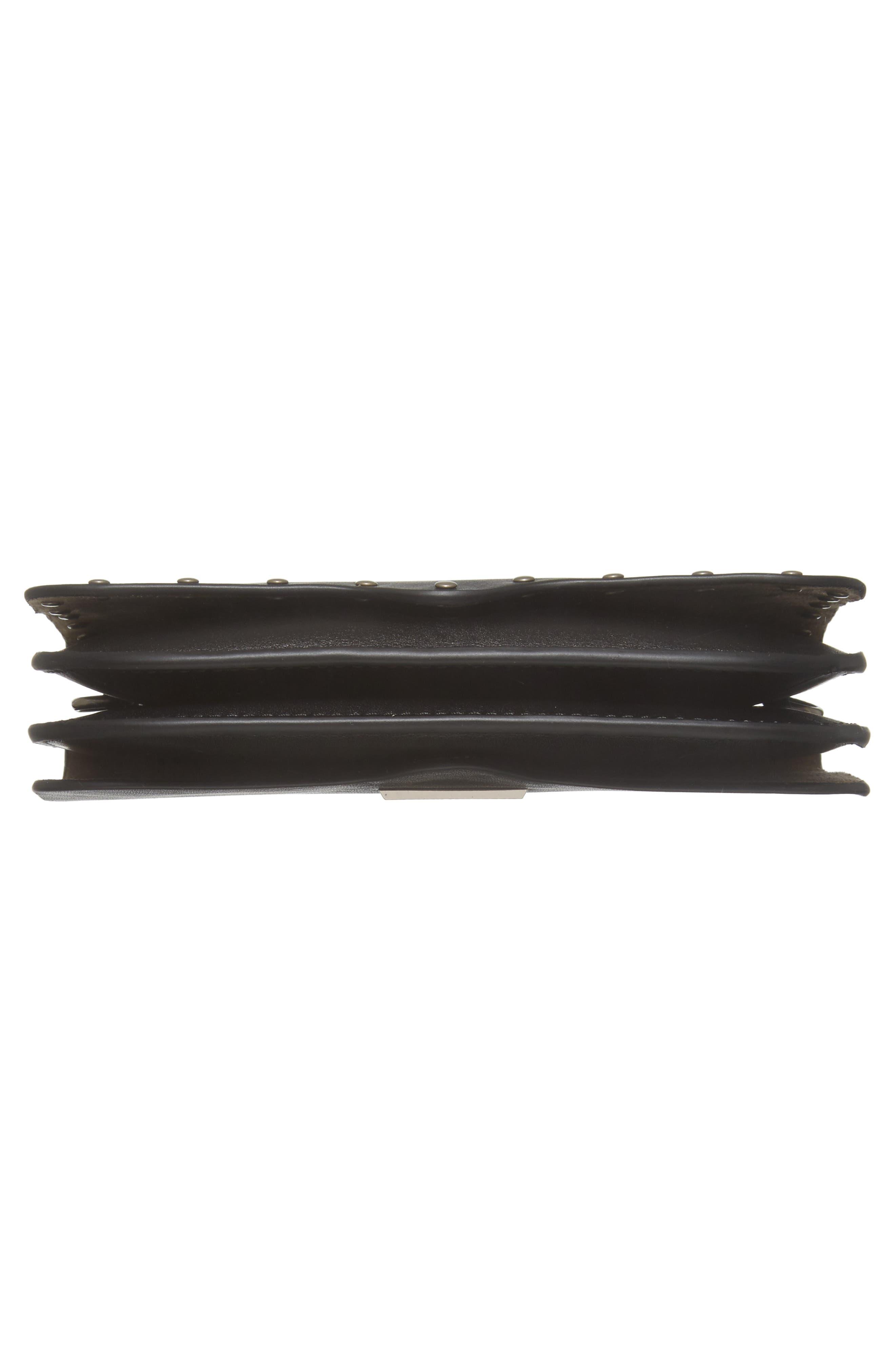 Ring Leather Crossbody Bag,                             Alternate thumbnail 6, color,                             001