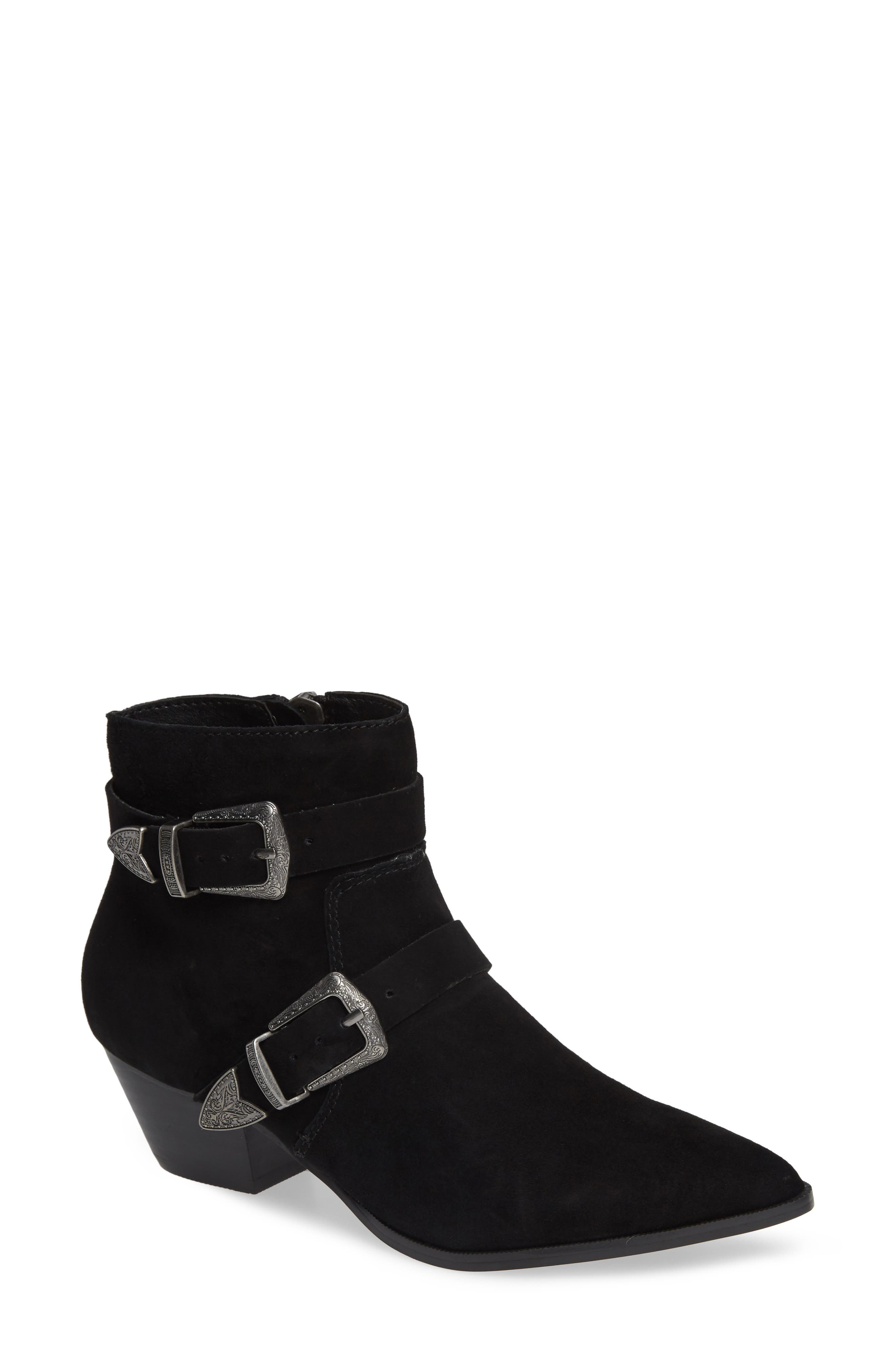 Cuff Buckle Strap Bootie,                             Main thumbnail 1, color,                             BLACK SUEDE