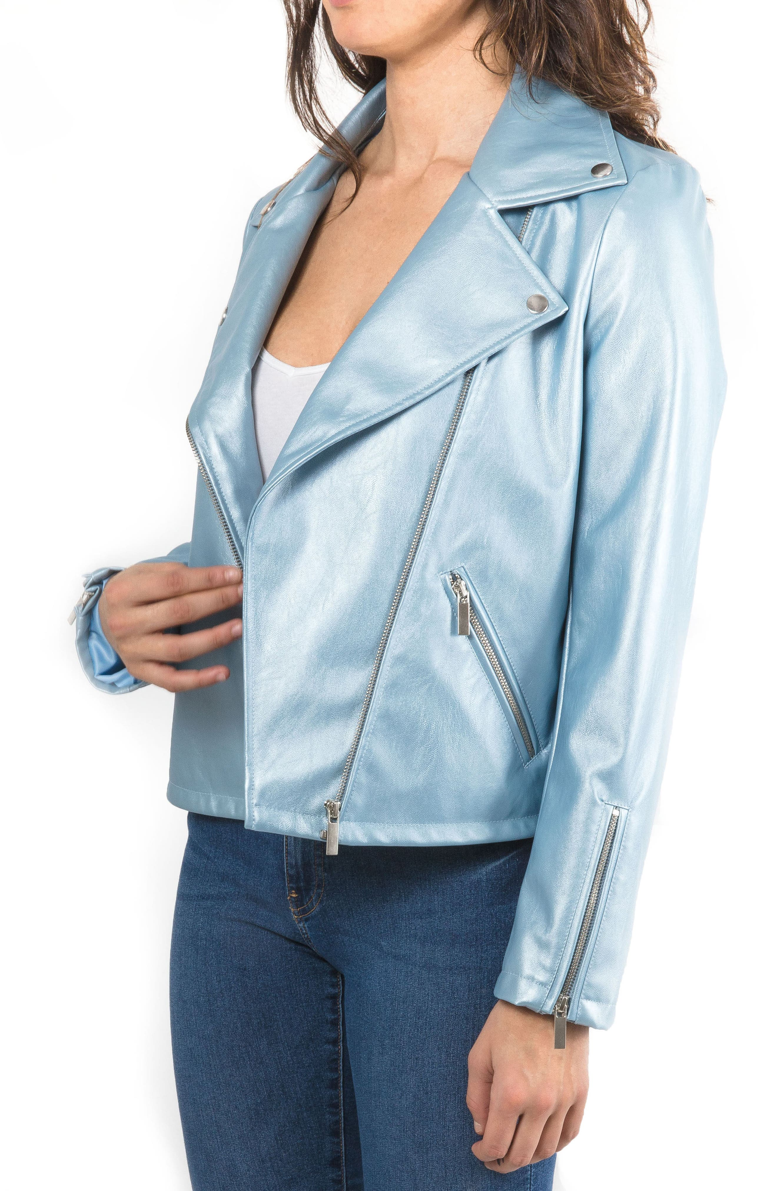 Metallic Faux Leather Biker Jacket,                             Alternate thumbnail 5, color,