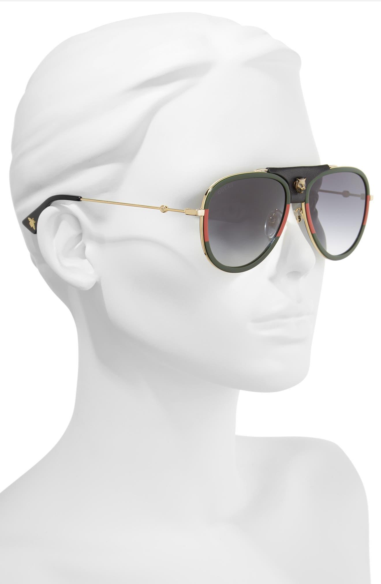 57mm Metal Aviator Sunglasses,                             Alternate thumbnail 2, color,                             GOLD