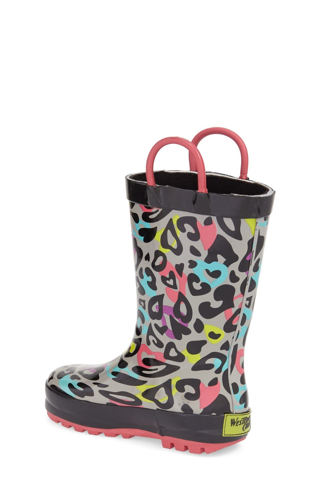Groovy Leopard Rain Boot,                             Alternate thumbnail 2, color,                             BLACK