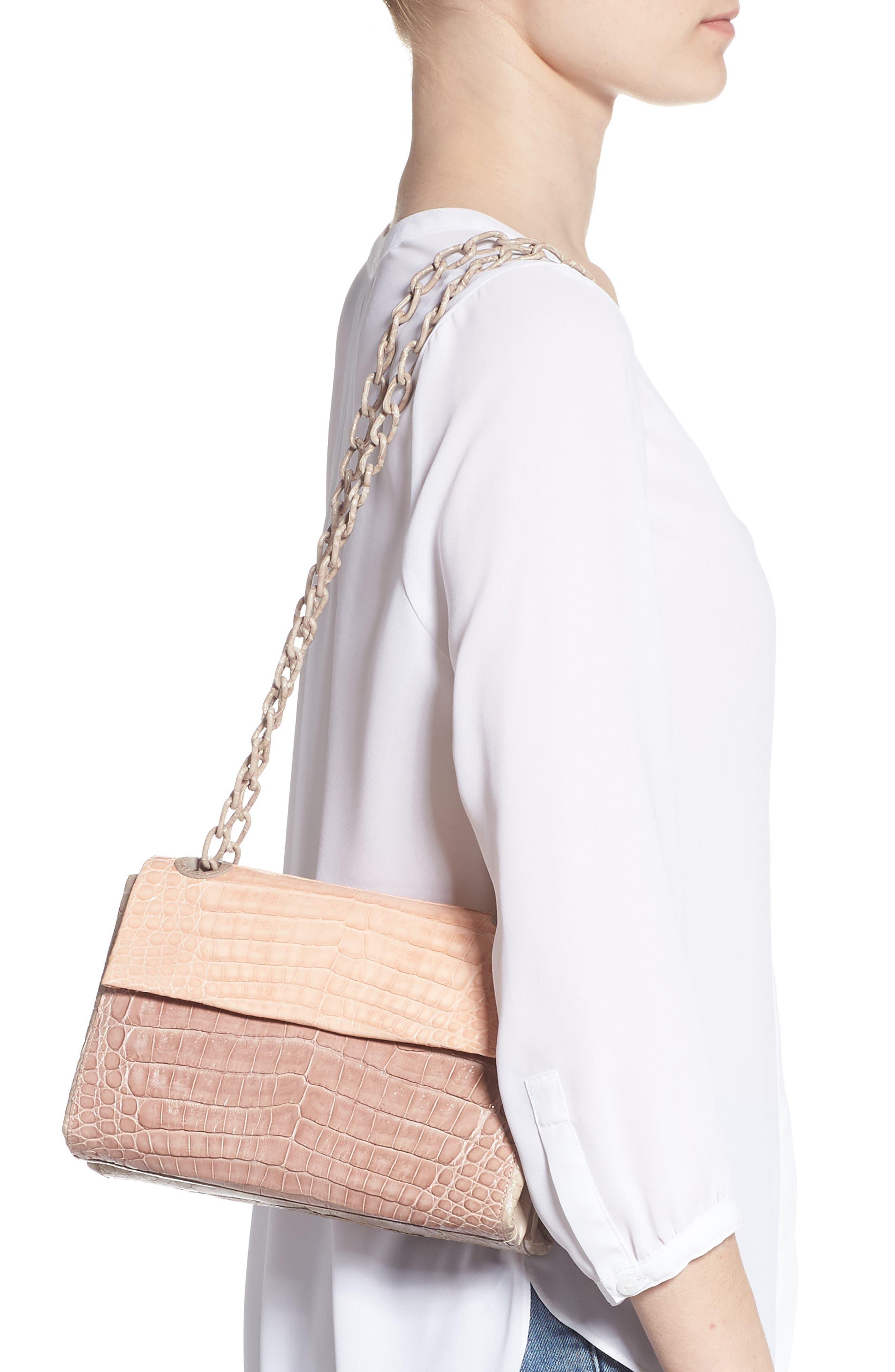 Small Madison Genuine Crocodile Shoulder Bag,                             Alternate thumbnail 2, color,                             NUDE/ TAUPE/ BLUSH