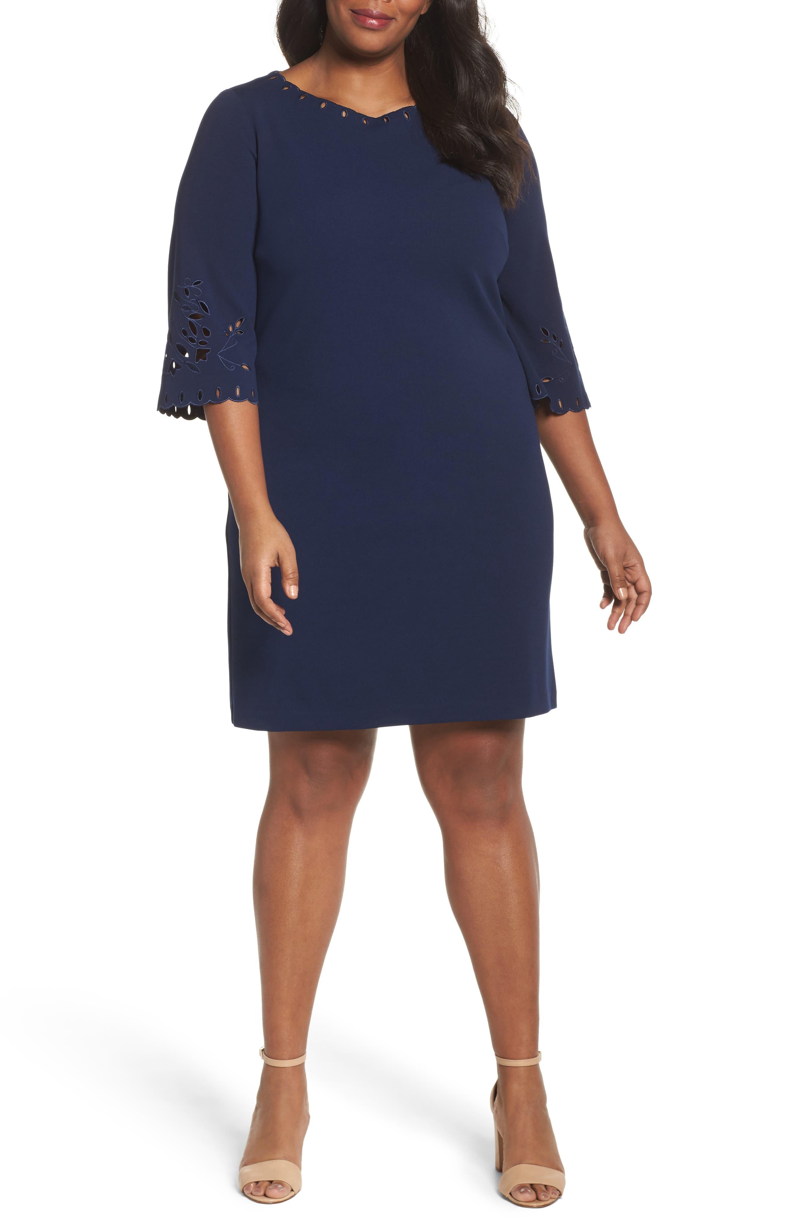 Laser Cut Shift Dress,                         Main,                         color, 410