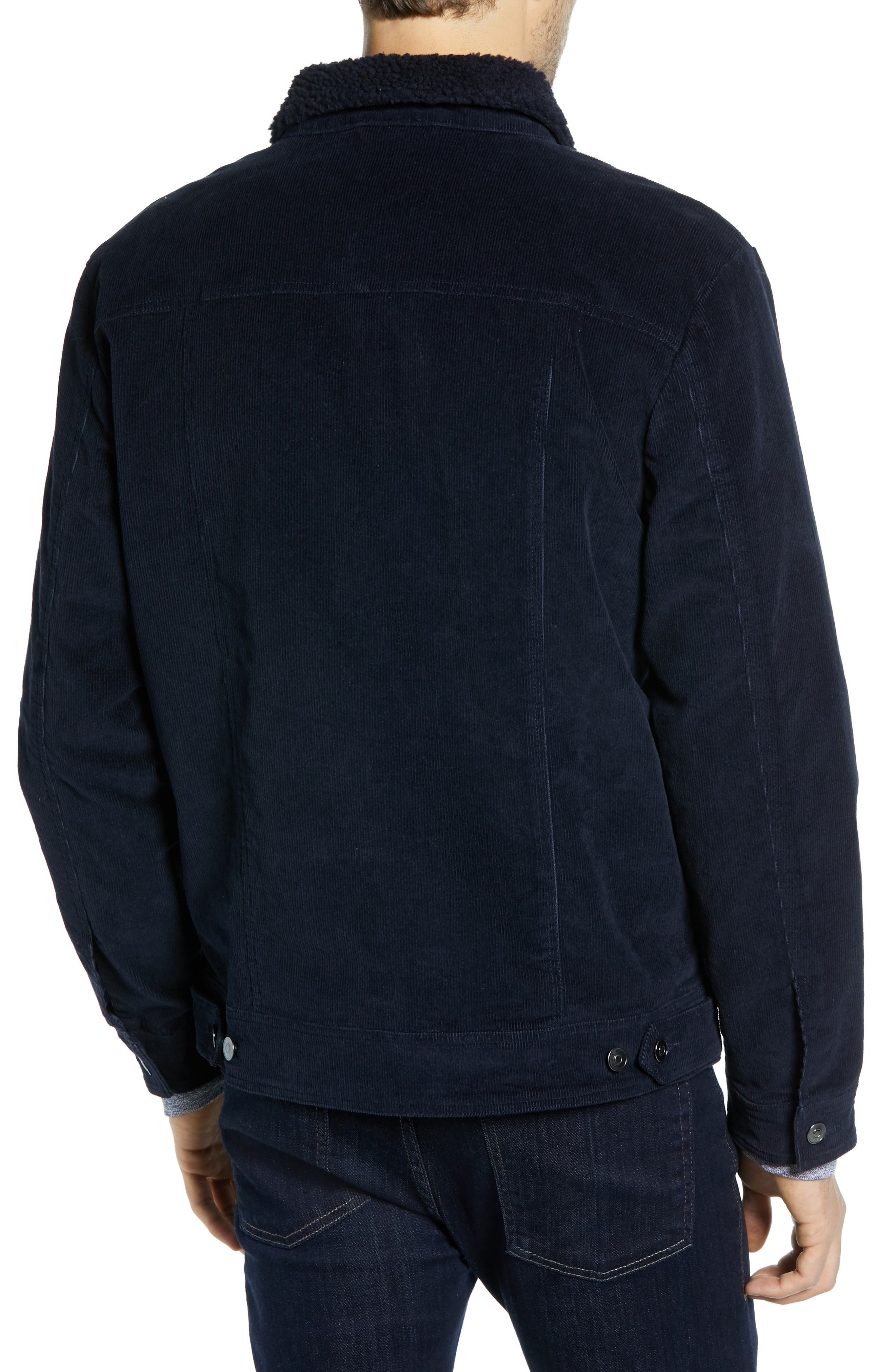 Regular Fit Faux Shearling Trim Corduroy Trucker Jacket,                             Alternate thumbnail 2, color,                             NAVY NIGHT