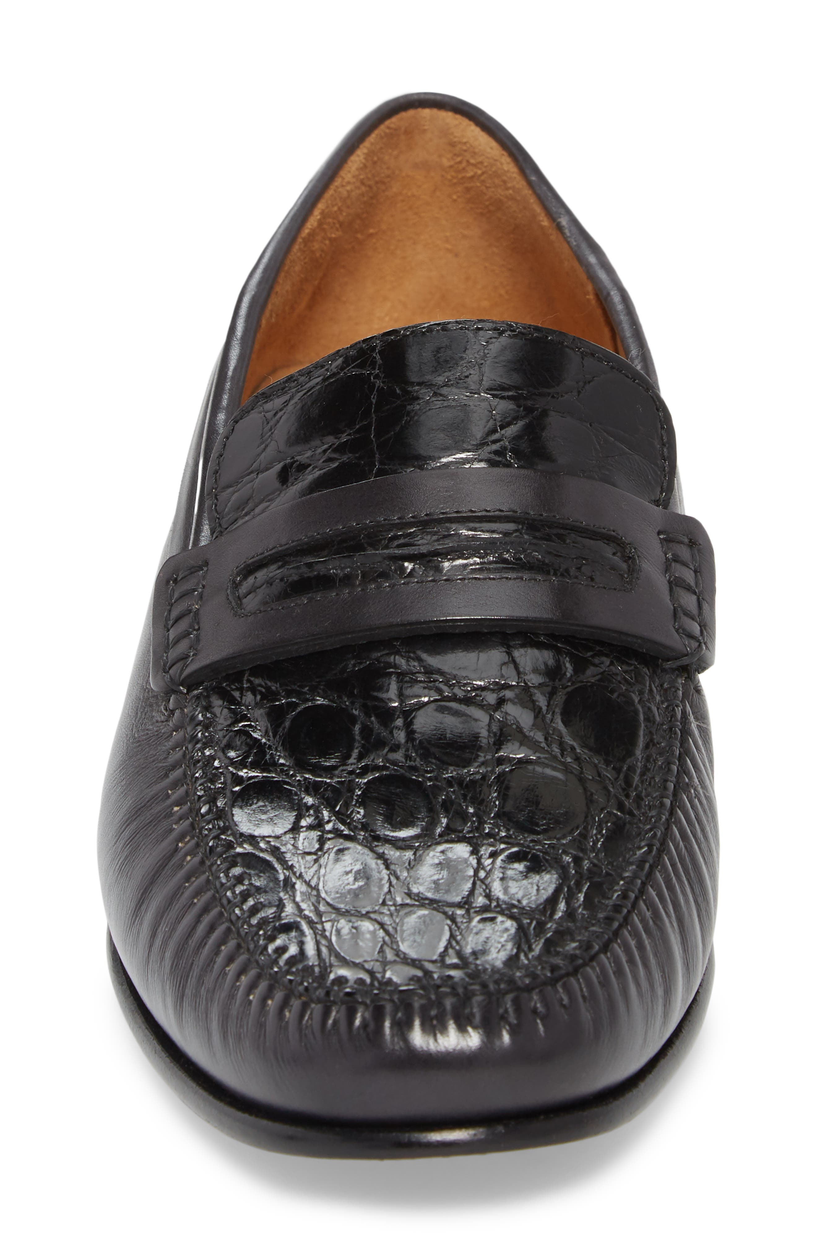 Kronos Moc Toe Penny Loafer,                             Alternate thumbnail 4, color,                             BLACK LEATHER