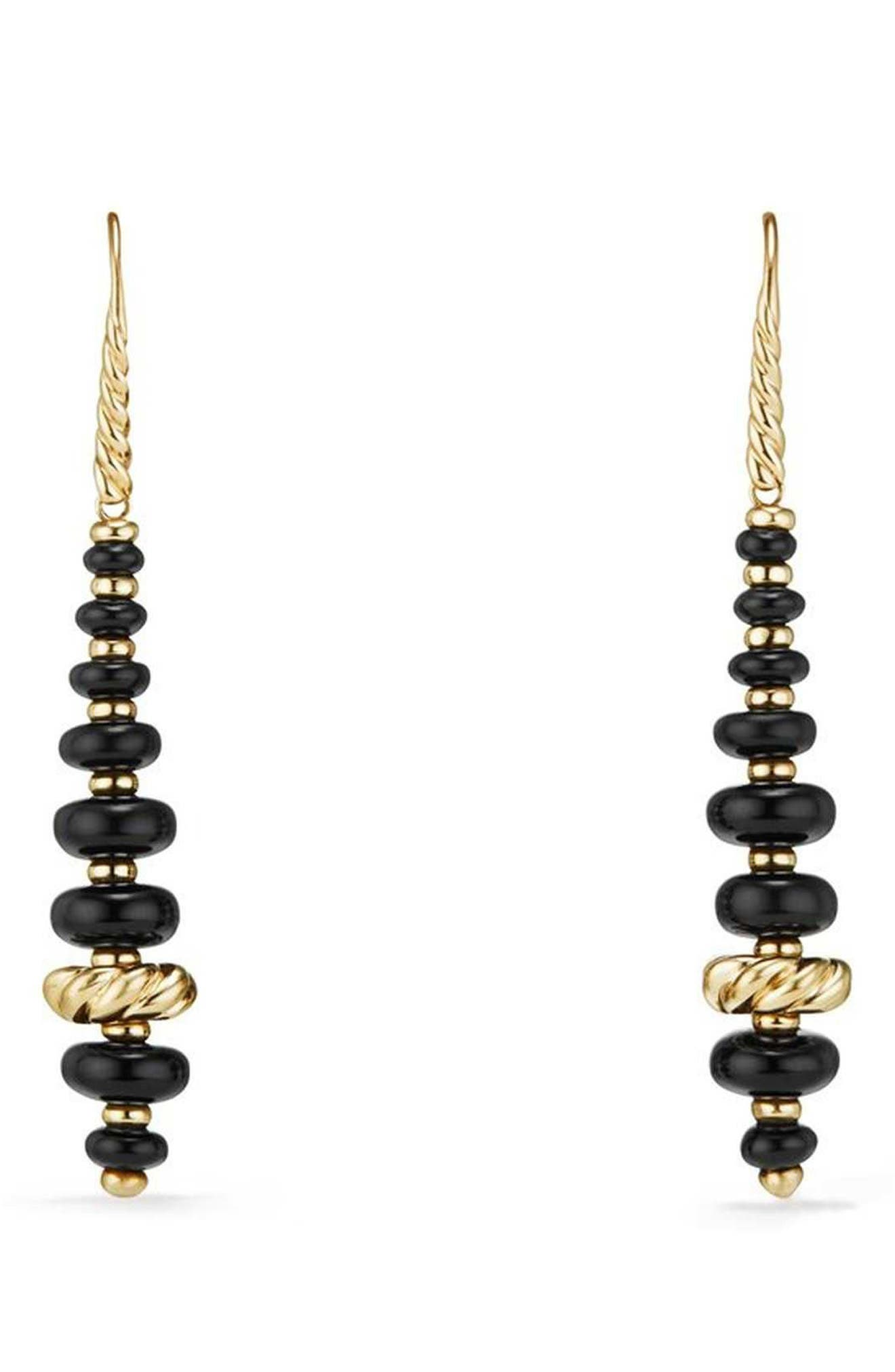 Rio Rondelle Drop Earrings in 18K Gold,                             Main thumbnail 1, color,                             GOLD/ BLACK ONYX