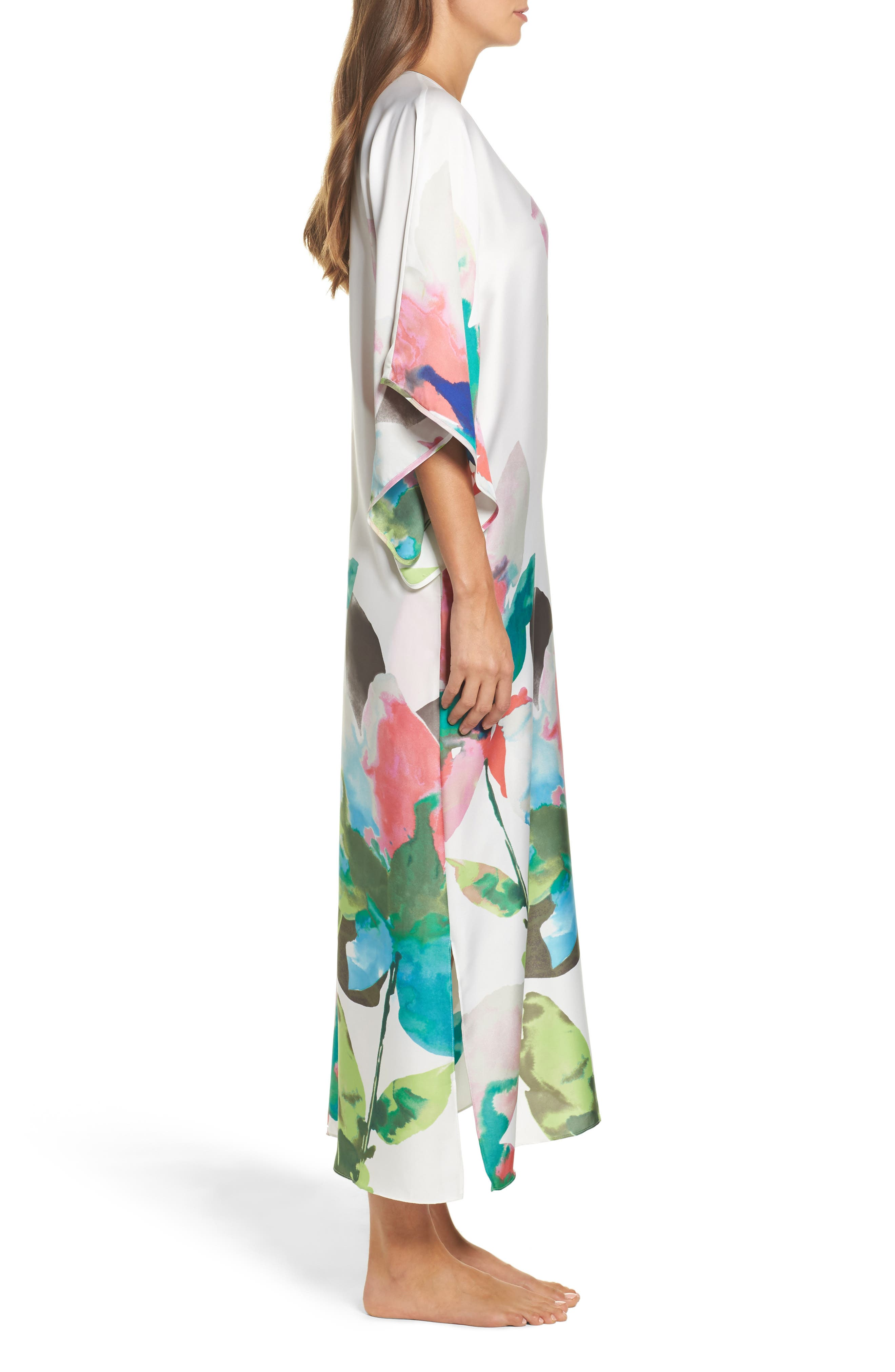 Water Lily Print Satin Caftan,                             Alternate thumbnail 3, color,                             100